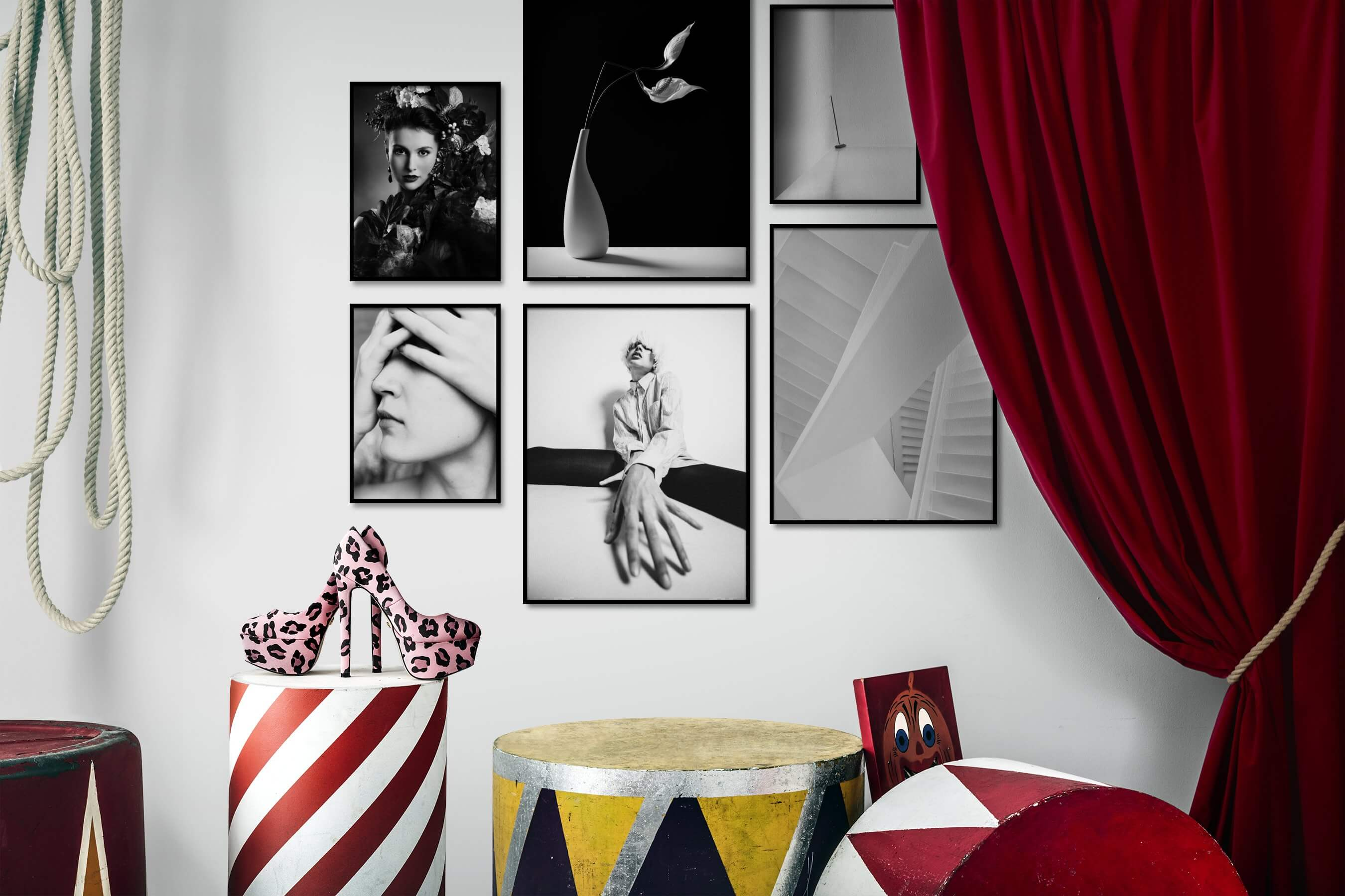 Gallery wall idea with six framed pictures arranged on a wall depicting Fashion & Beauty, Black & White, Dark Tones, For the Minimalist, Flowers & Plants, For the Moderate, and Bright Tones