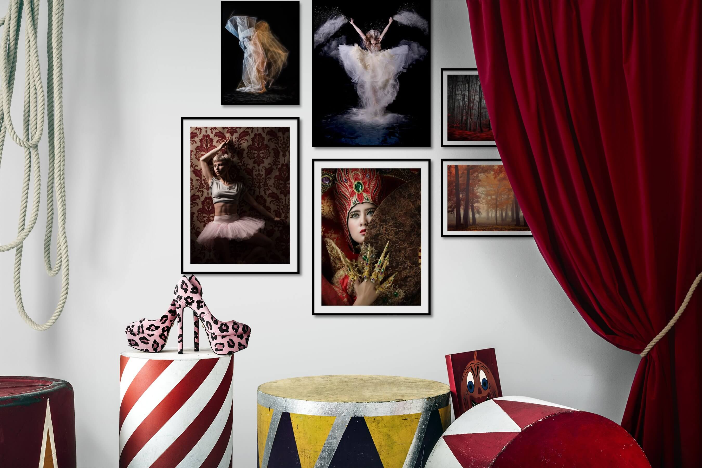 Gallery wall idea with six framed pictures arranged on a wall depicting Artsy, Dark Tones, Fashion & Beauty, and Nature