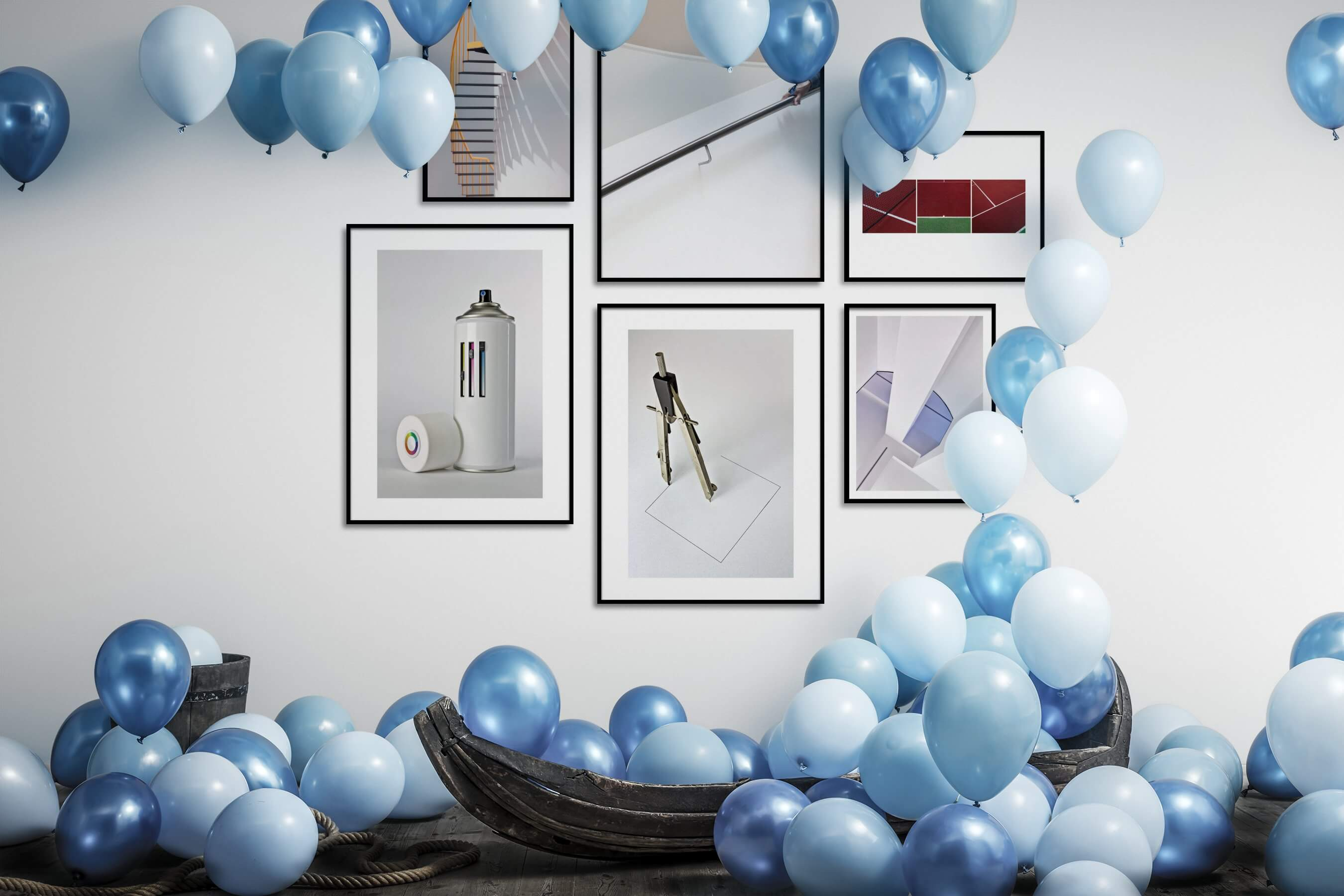 Gallery wall idea with six framed pictures arranged on a wall depicting For the Minimalist and For the Moderate