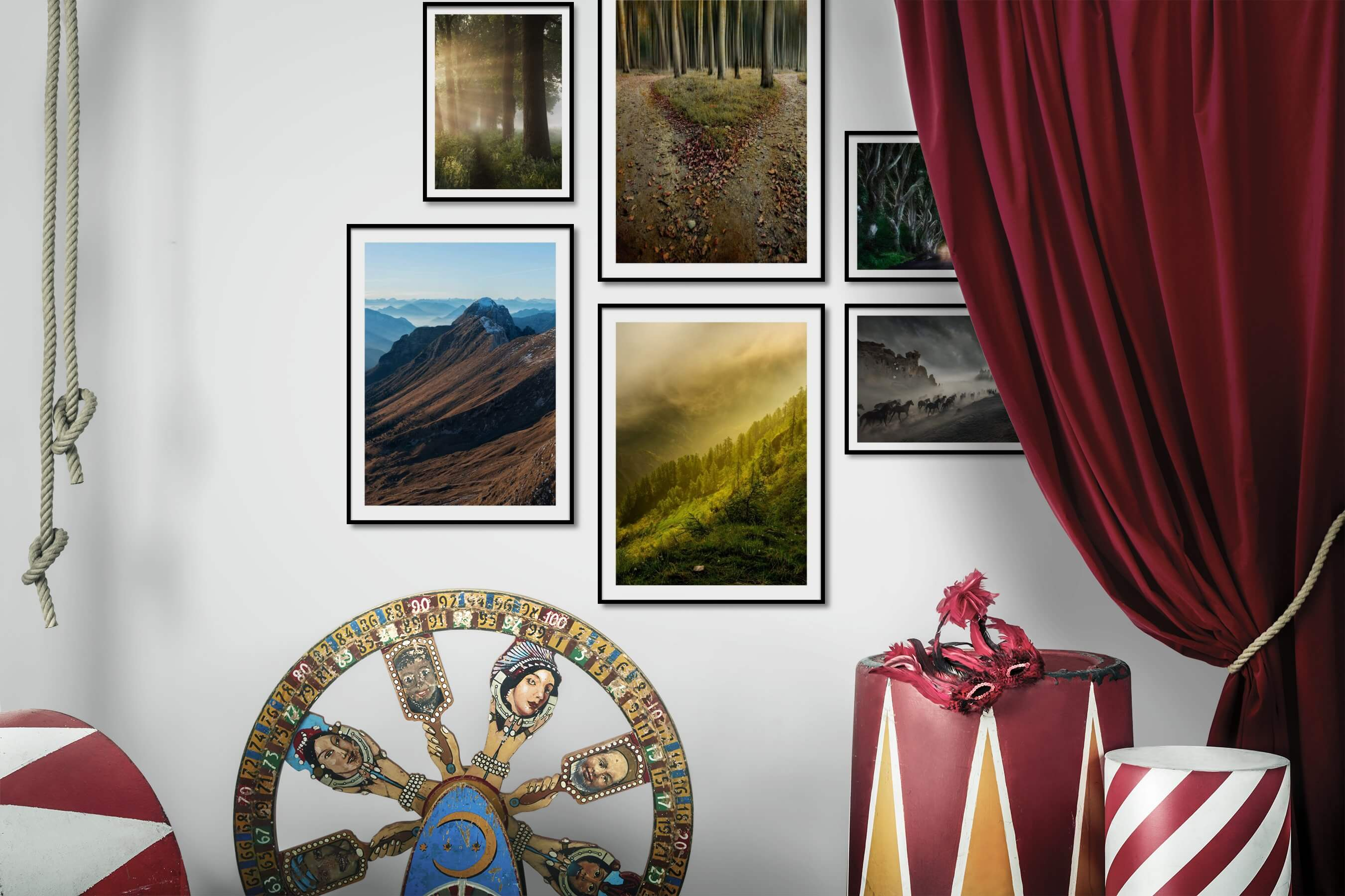 Gallery wall idea with six framed pictures arranged on a wall depicting Nature, Animals, and Country Life