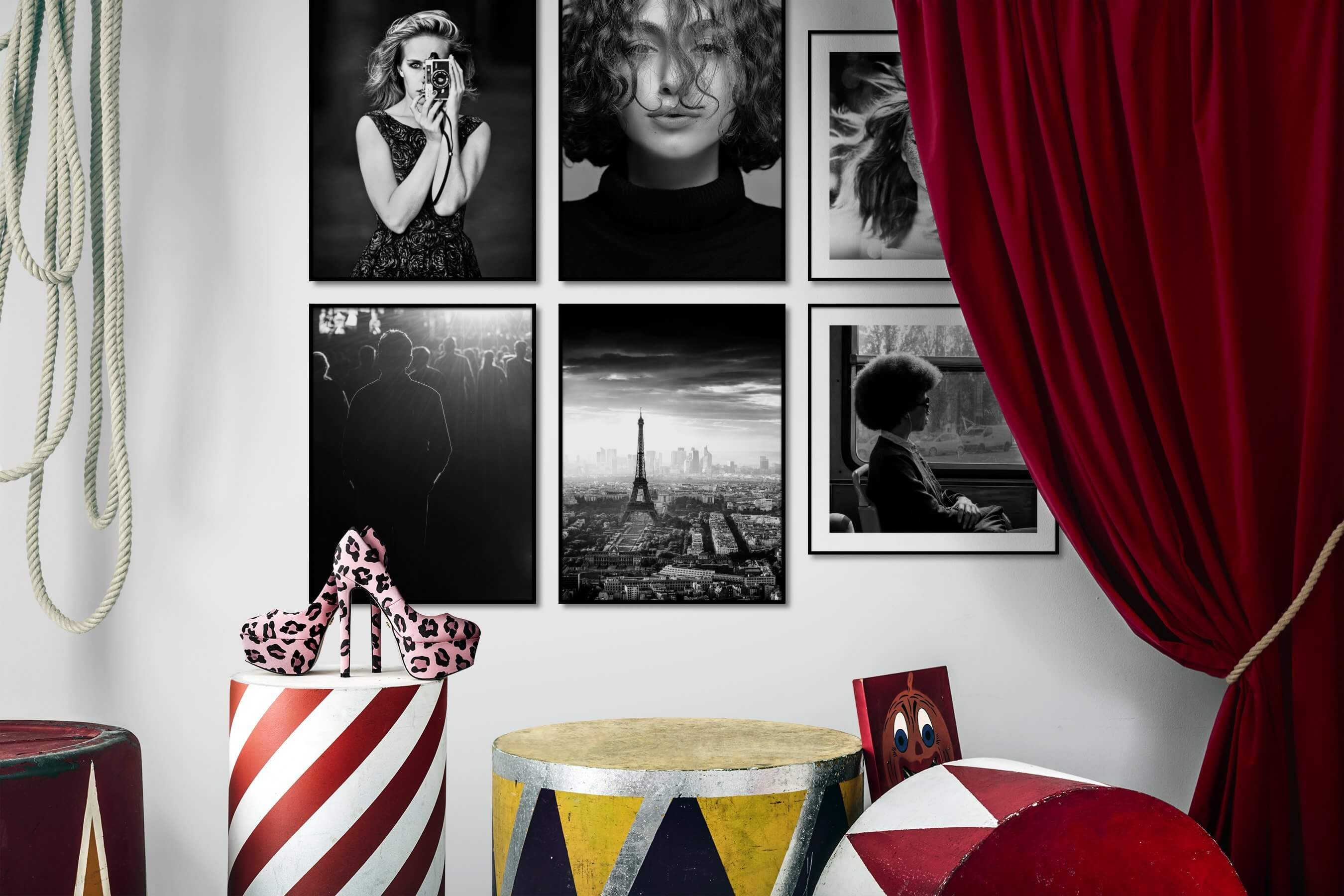 Gallery wall idea with six framed pictures arranged on a wall depicting Fashion & Beauty, Black & White, Vintage, and City Life