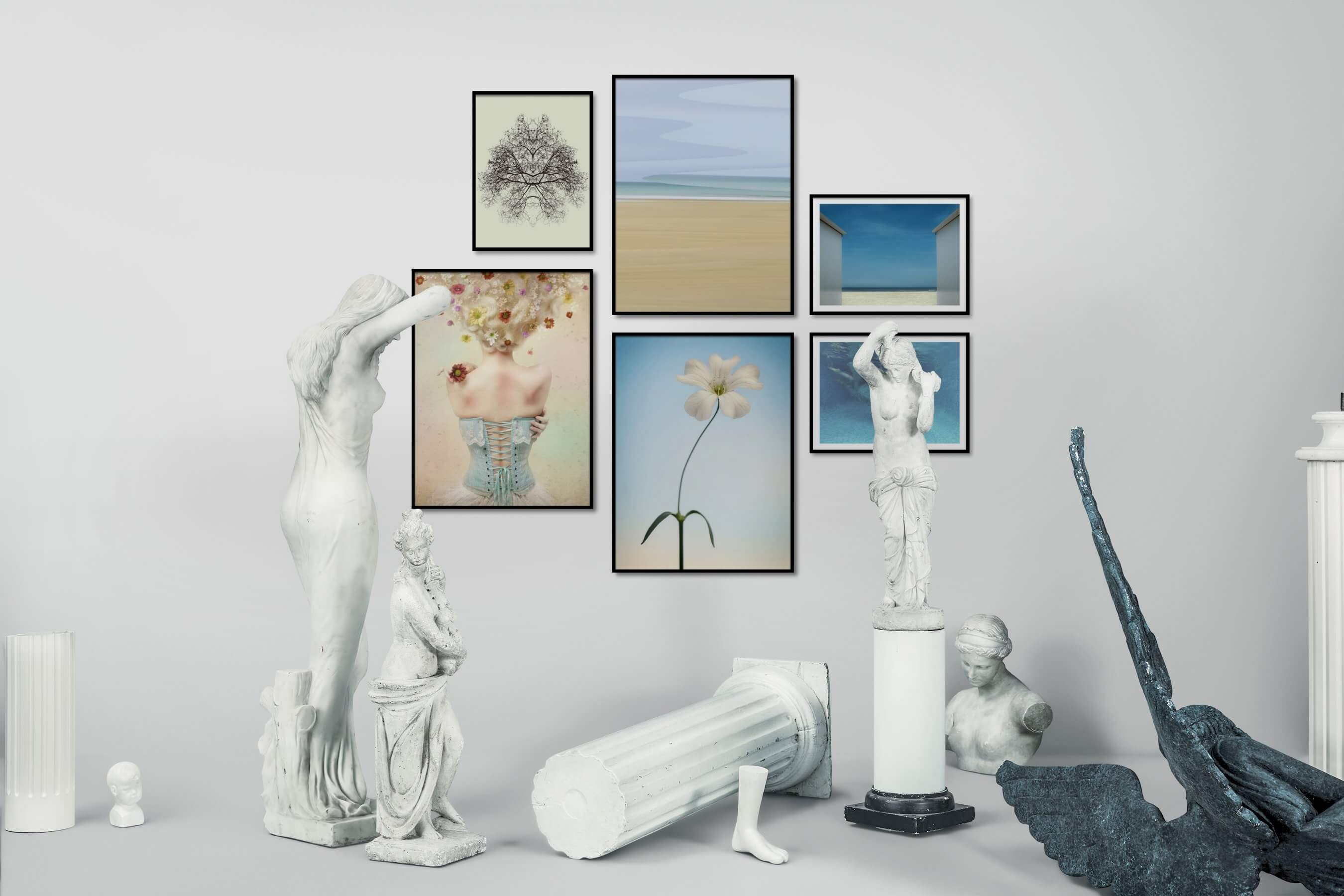Gallery wall idea with six framed pictures arranged on a wall depicting For the Minimalist, Flowers & Plants, Mindfulness, For the Moderate, Beach & Water, Fashion & Beauty, and Colorful