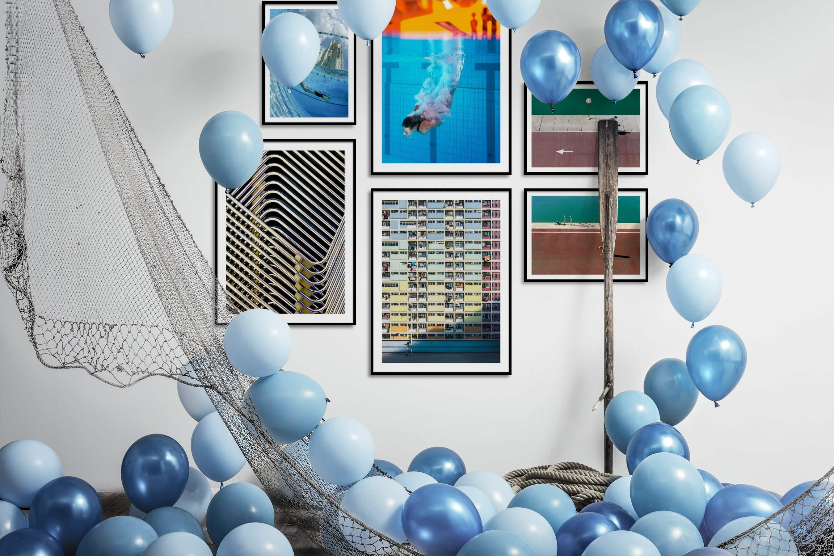 Gallery wall idea with six framed pictures arranged on a wall depicting Beach & Water, For the Maximalist, City Life, For the Moderate, Vintage, and Animals
