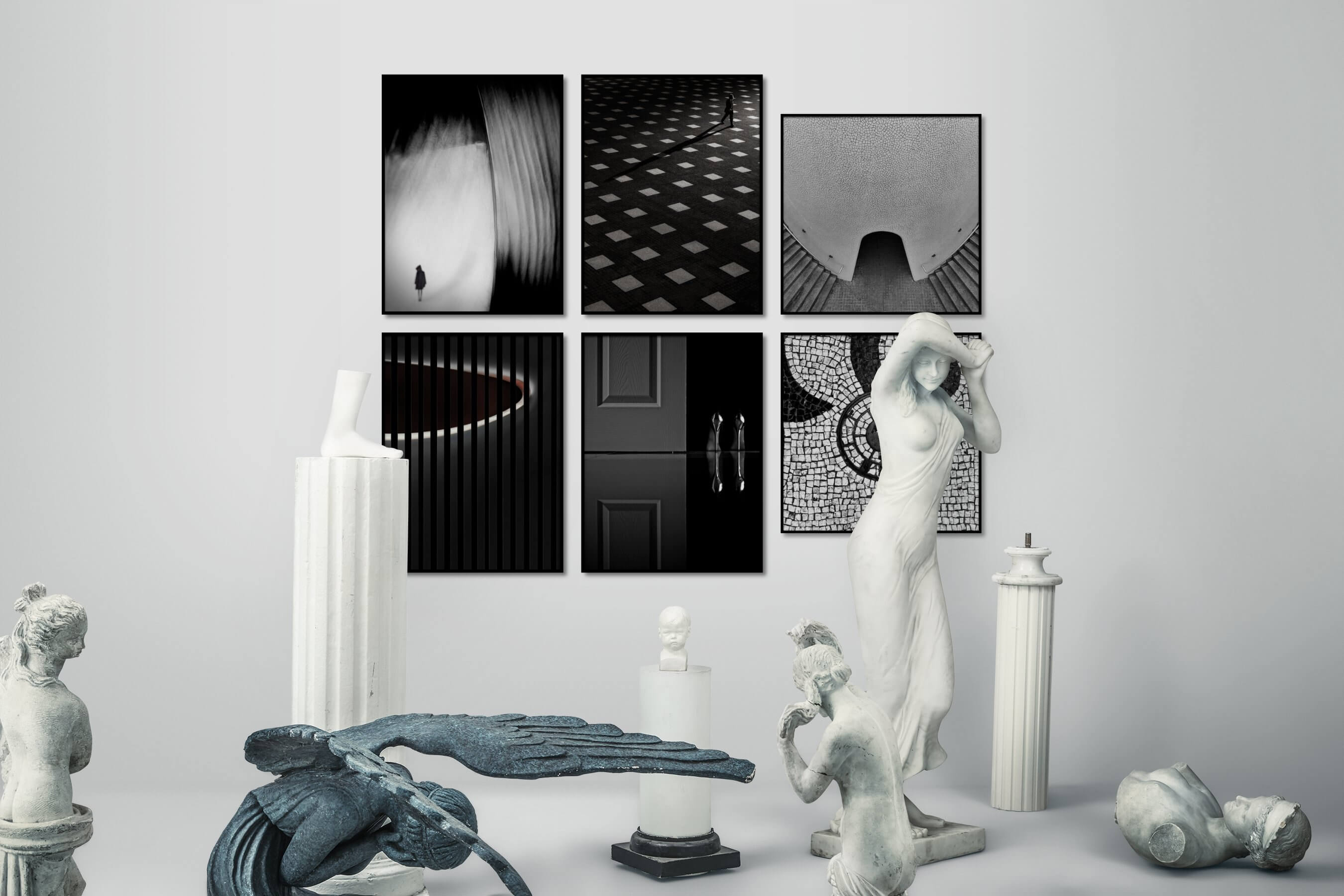 Gallery wall idea with six framed pictures arranged on a wall depicting Artsy, Black & White, For the Moderate, For the Minimalist, Fashion & Beauty, and City Life