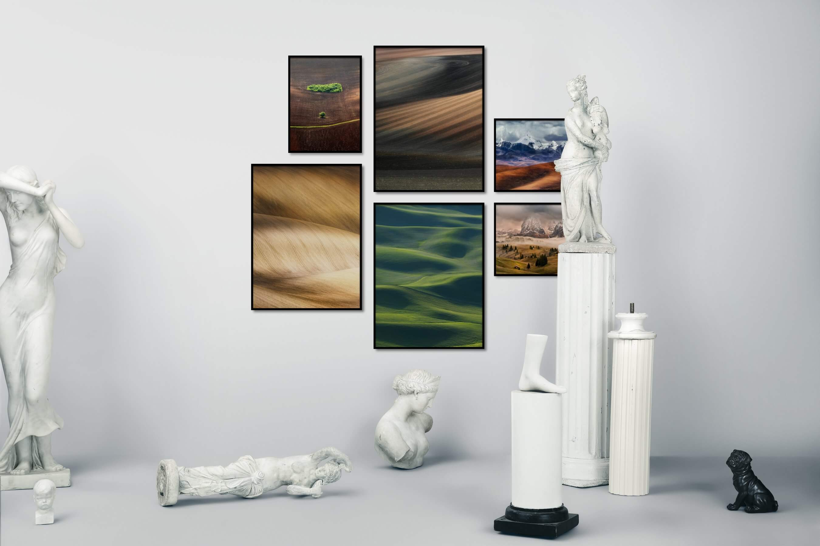 Gallery wall idea with six framed pictures arranged on a wall depicting For the Minimalist, Country Life, For the Moderate, and Nature