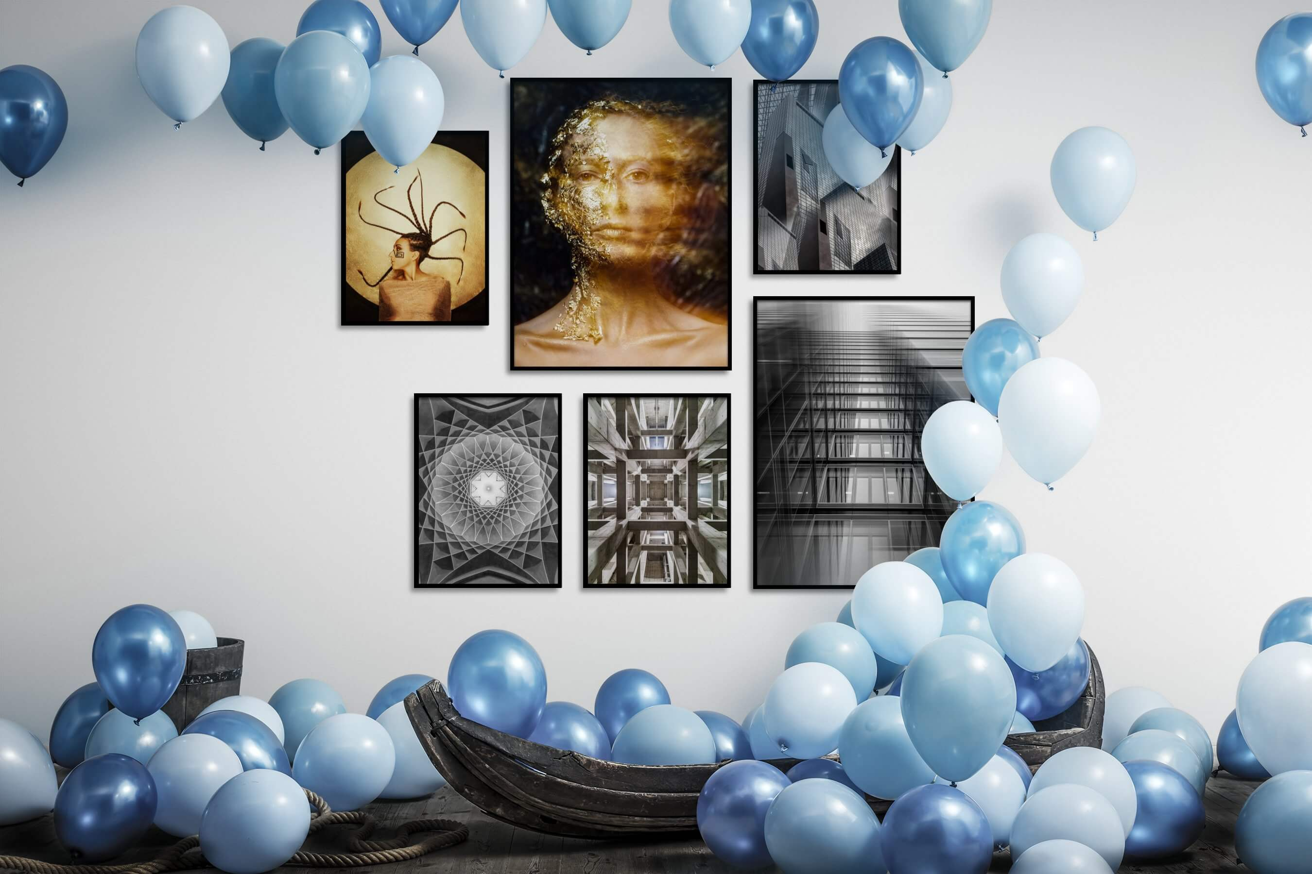 Gallery wall idea with six framed pictures arranged on a wall depicting Artsy, Fashion & Beauty, Black & White, For the Maximalist, and City Life