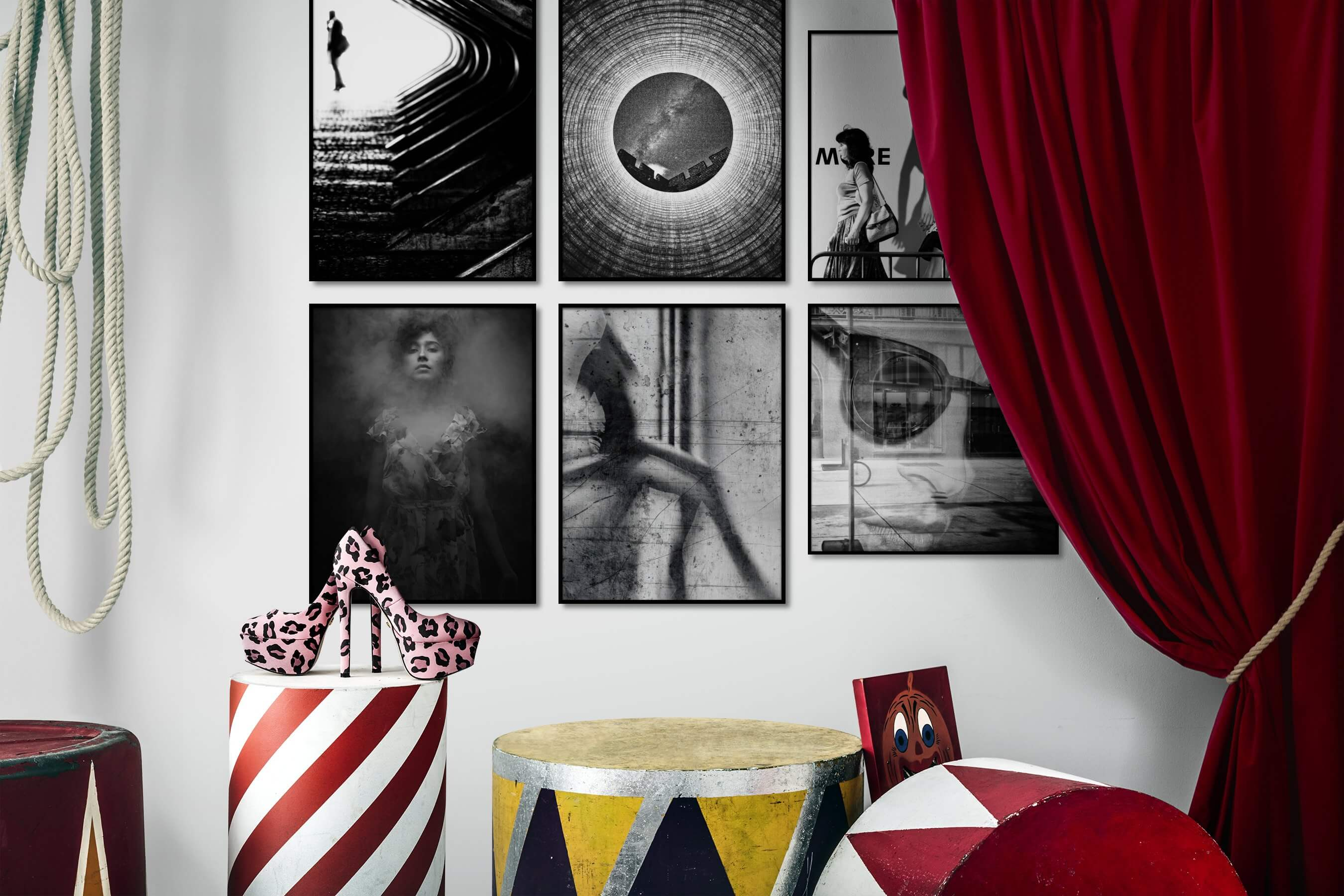 Gallery wall idea with six framed pictures arranged on a wall depicting Black & White, For the Moderate, City Life, For the Maximalist, and Fashion & Beauty