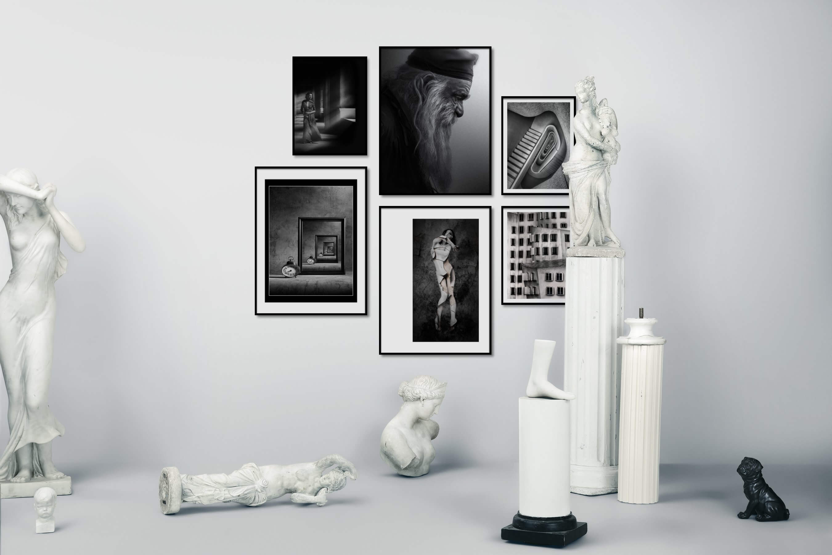 Gallery wall idea with six framed pictures arranged on a wall depicting Fashion & Beauty, Black & White, Vintage, Artsy, For the Moderate, and City Life