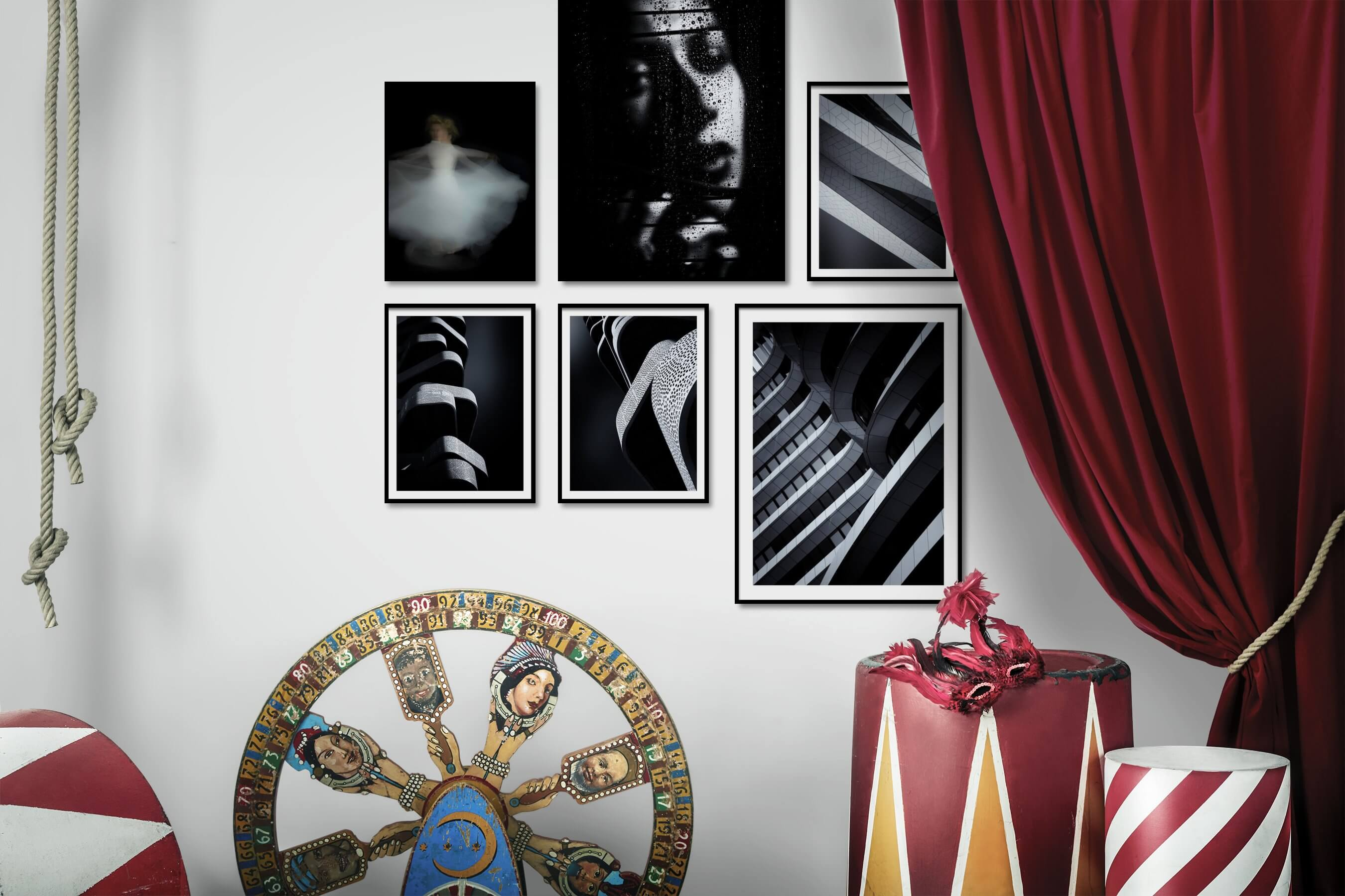 Gallery wall idea with six framed pictures arranged on a wall depicting Fashion & Beauty, Dark Tones, For the Minimalist, Black & White, For the Moderate, and For the Maximalist