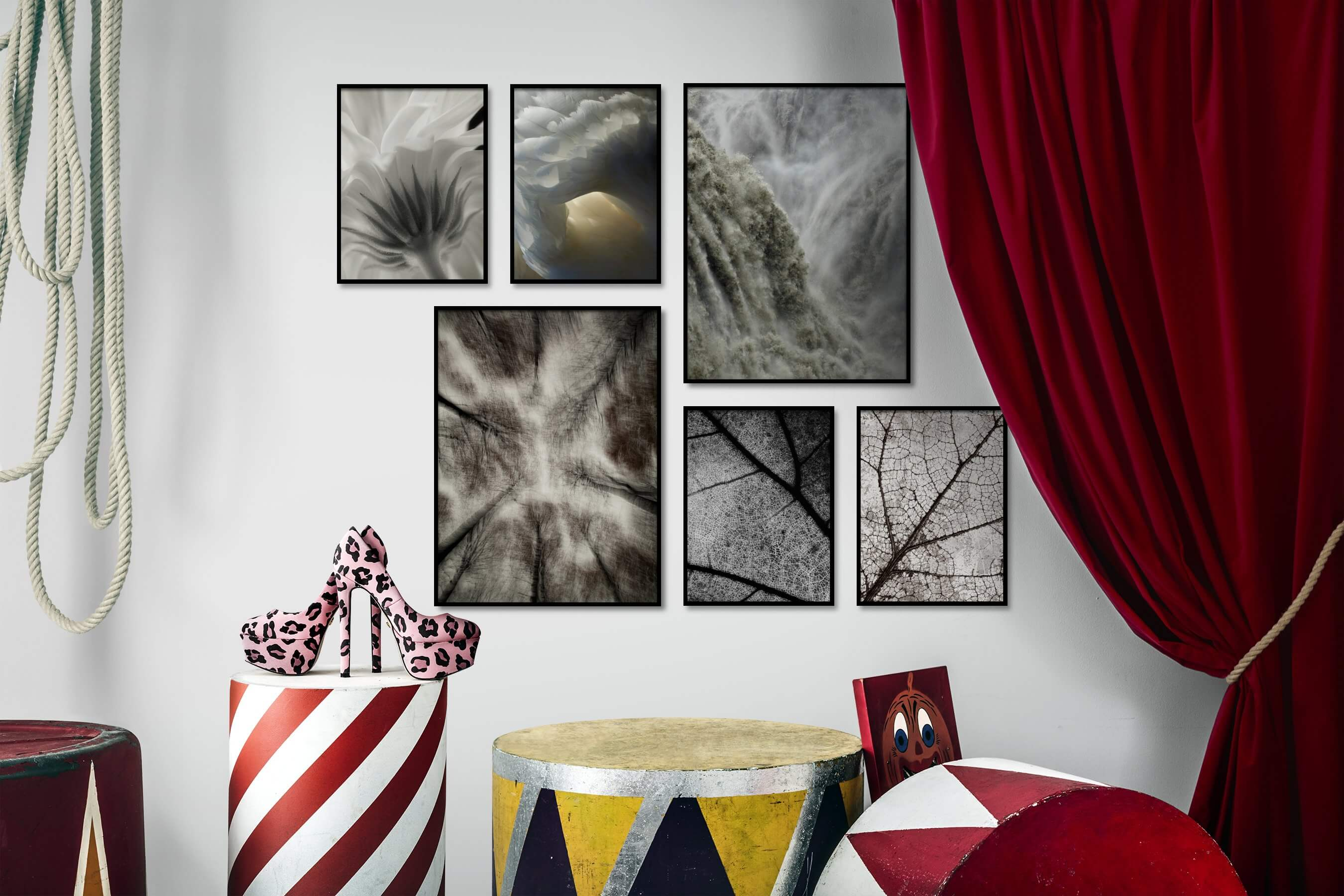 Gallery wall idea with six framed pictures arranged on a wall depicting For the Moderate, Flowers & Plants, Animals, Mindfulness, and Nature