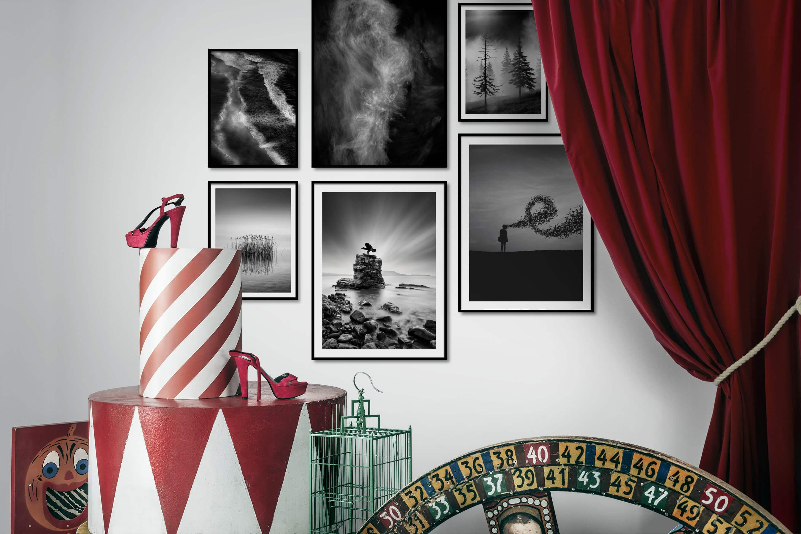 Gallery wall idea with six framed pictures arranged on a wall depicting Black & White, For the Moderate, Beach & Water, Dark Tones, Nature, For the Minimalist, Mindfulness, and Artsy