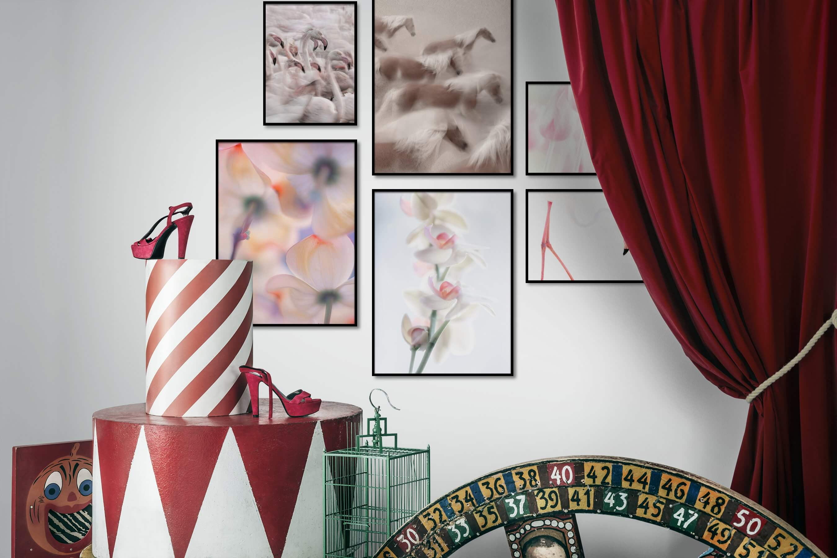 Gallery wall idea with six framed pictures arranged on a wall depicting For the Maximalist, Animals, Country Life, For the Moderate, Flowers & Plants, Mindfulness, Bright Tones, and For the Minimalist