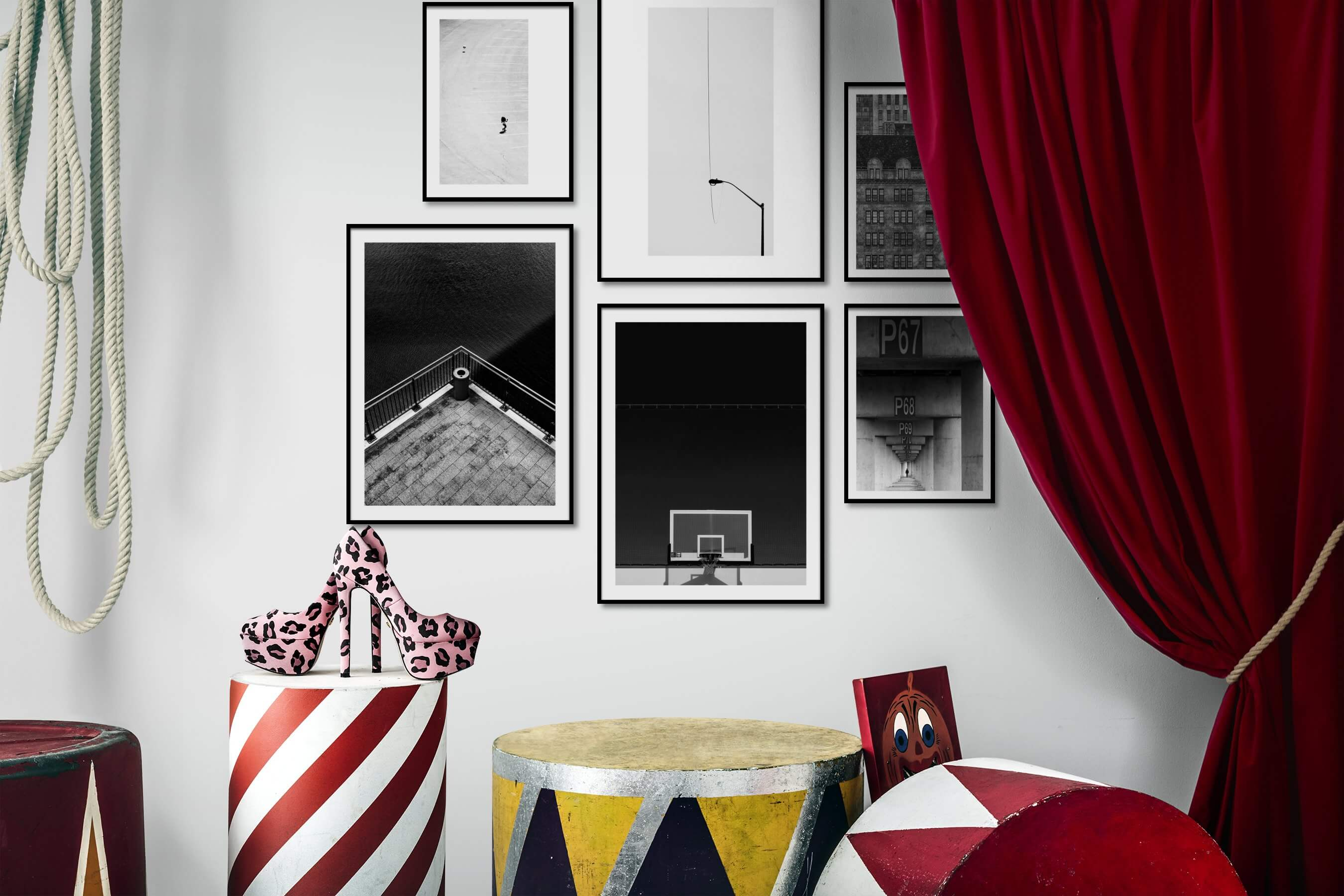Gallery wall idea with six framed pictures arranged on a wall depicting Black & White, For the Minimalist, City Life, Beach & Water, For the Maximalist, Americana, and For the Moderate