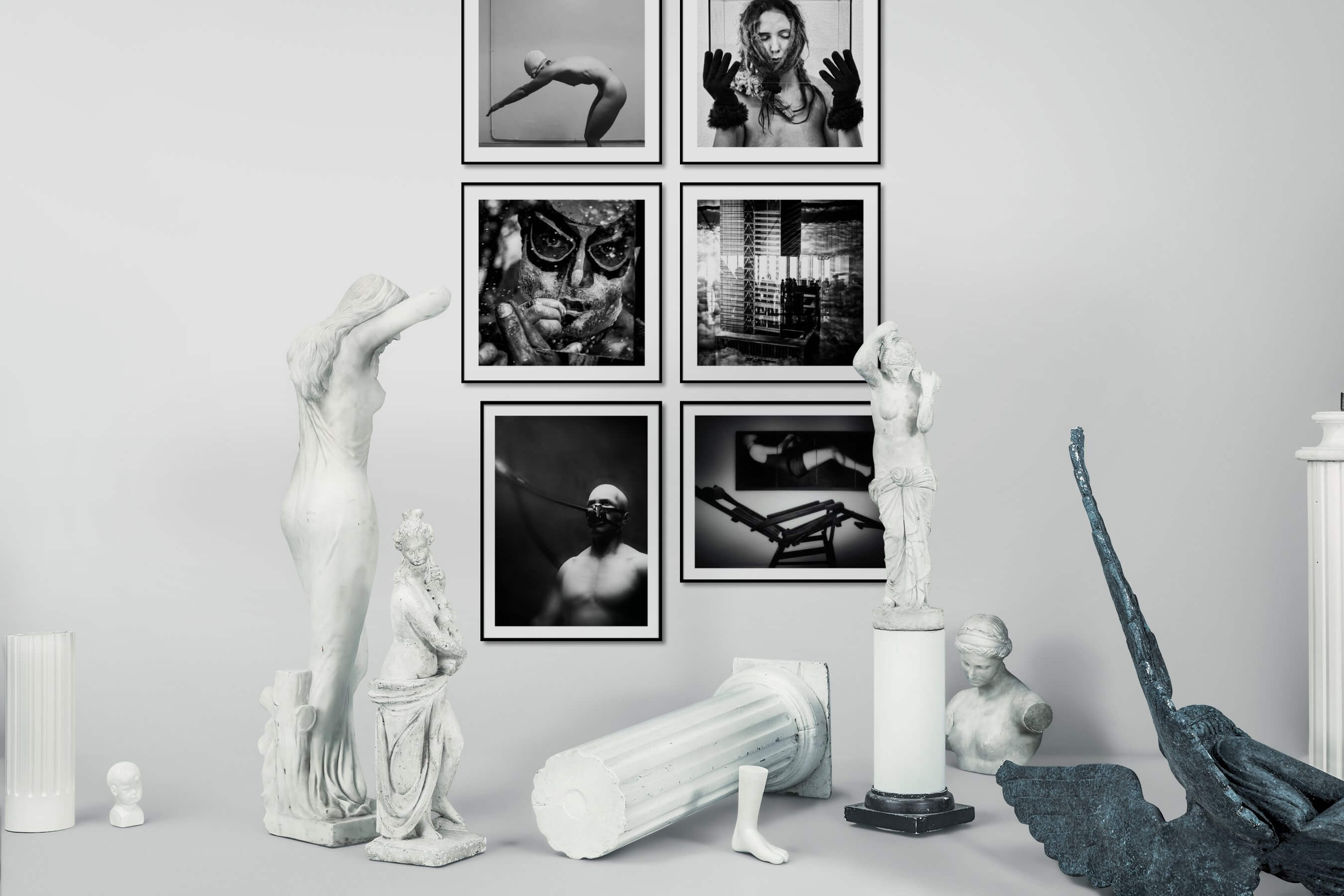 Gallery wall idea with six framed pictures arranged on a wall depicting Artsy, Black & White, For the Minimalist, and City Life