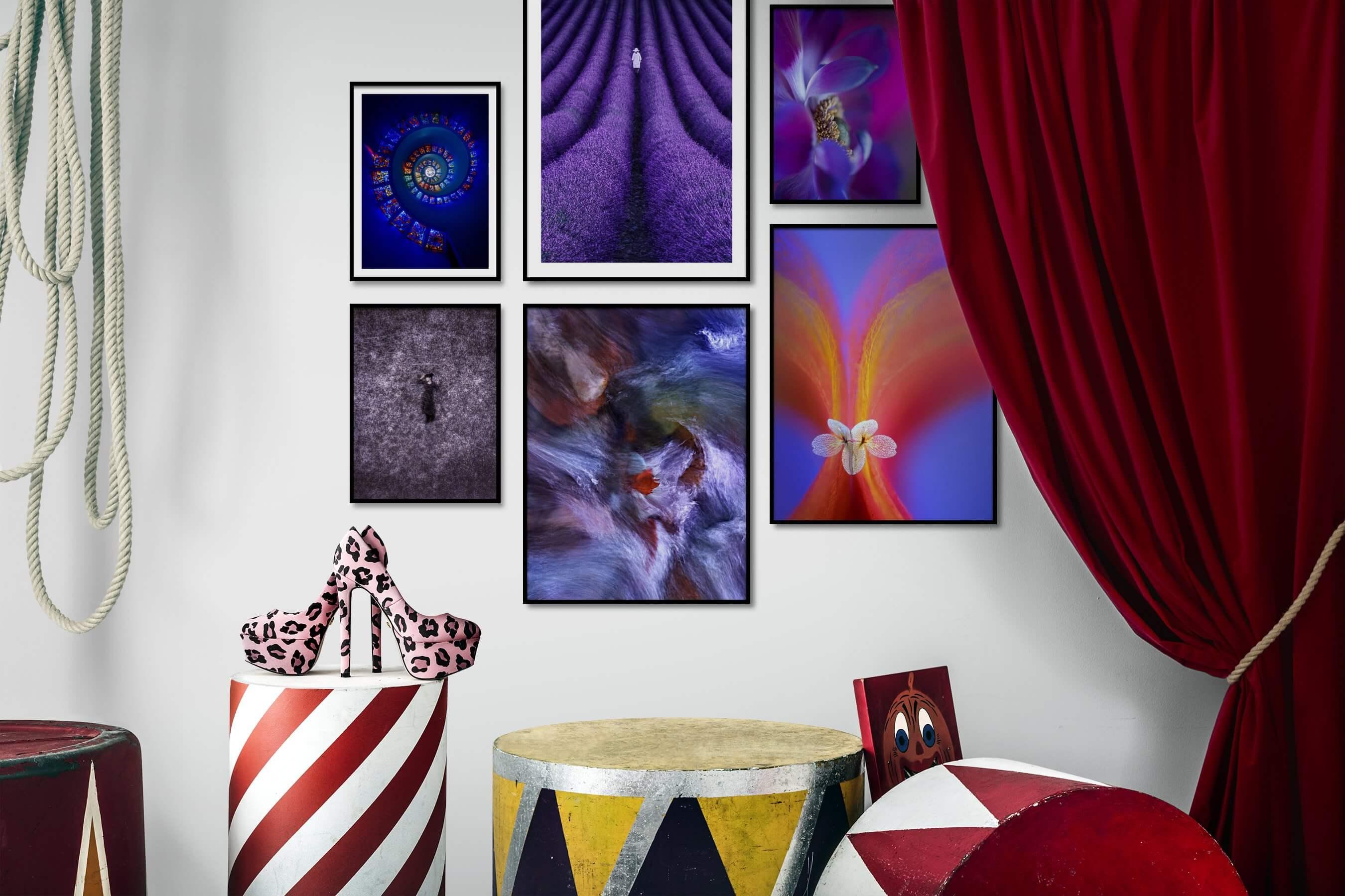 Gallery wall idea with six framed pictures arranged on a wall depicting Colorful, For the Maximalist, For the Moderate, Country Life, Mindfulness, Artsy, For the Minimalist, Nature, and Flowers & Plants