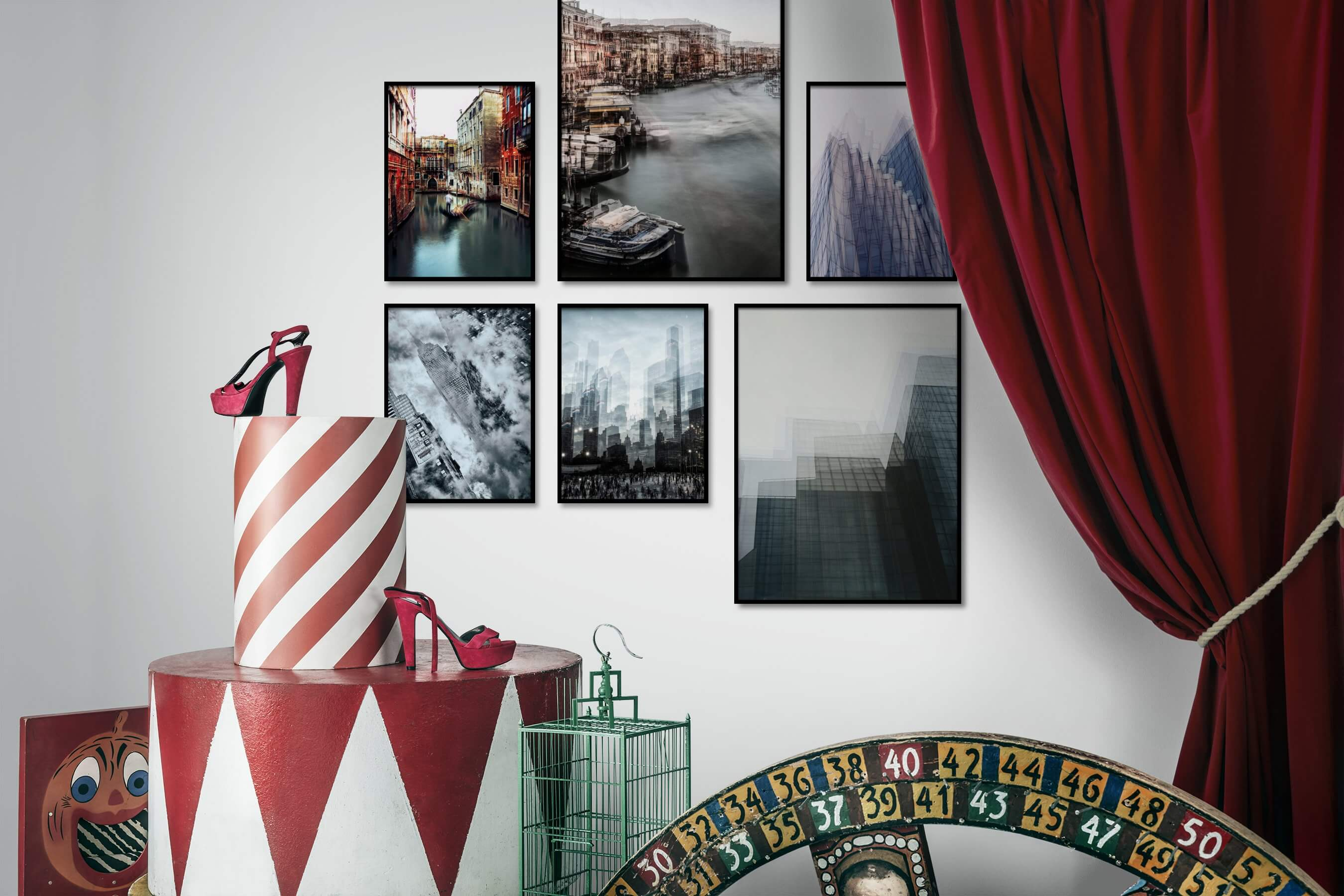 Gallery wall idea with six framed pictures arranged on a wall depicting For the Moderate, City Life, Black & White, Americana, Vintage, and For the Maximalist