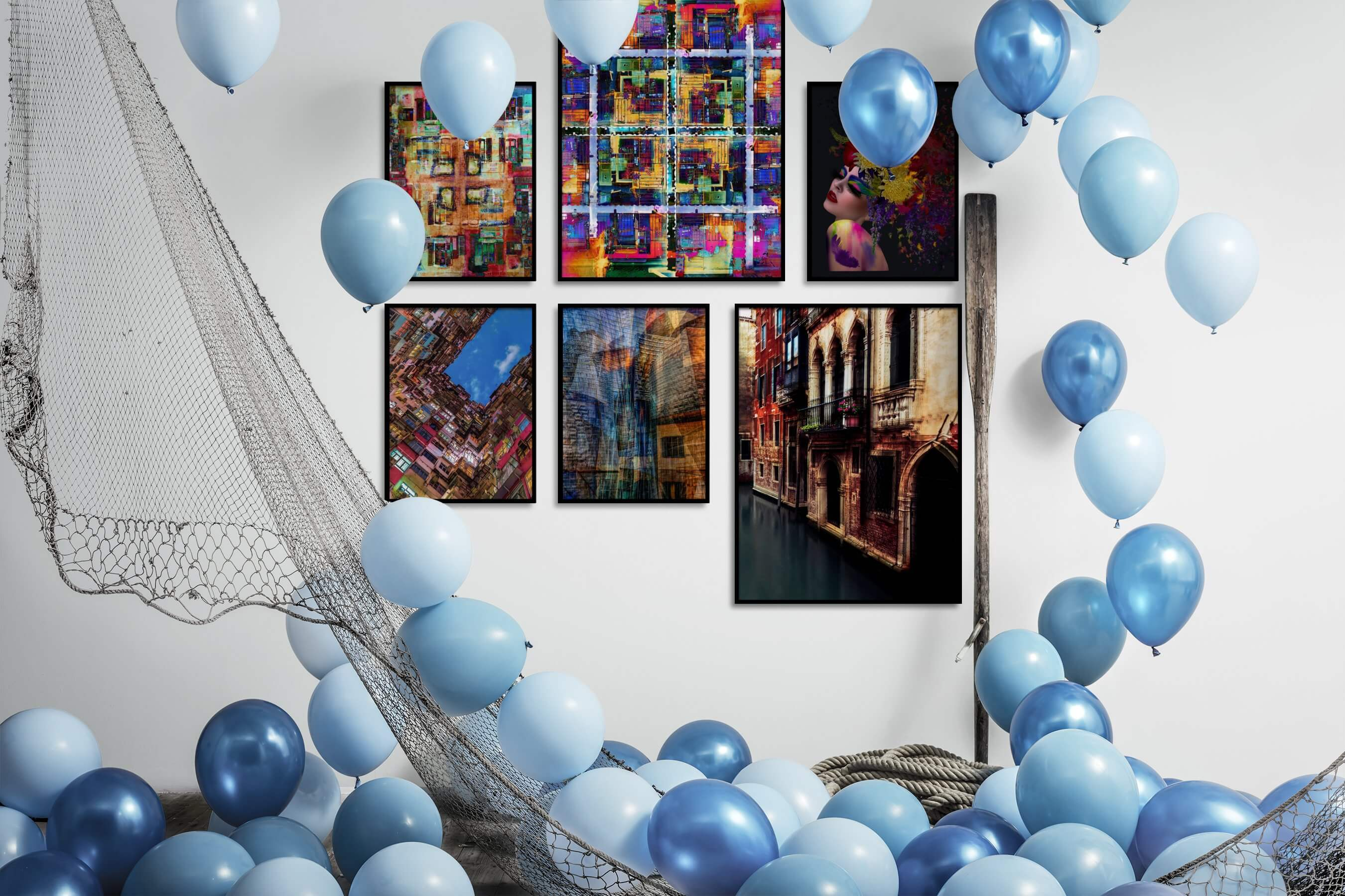 Gallery wall idea with six framed pictures arranged on a wall depicting Colorful, For the Maximalist, City Life, For the Moderate, Fashion & Beauty, and Dark Tones