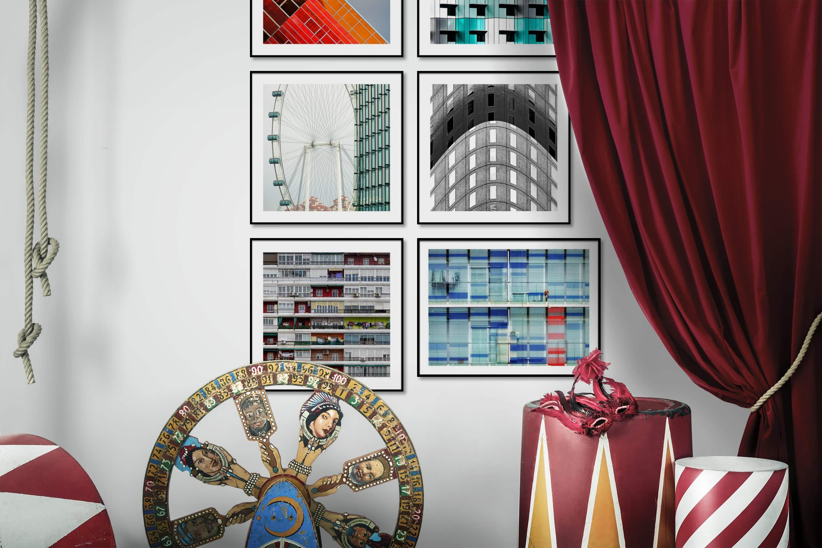 Gallery wall idea with six framed pictures arranged on a wall depicting Colorful, For the Moderate, For the Maximalist, City Life, Black & White, and Animals