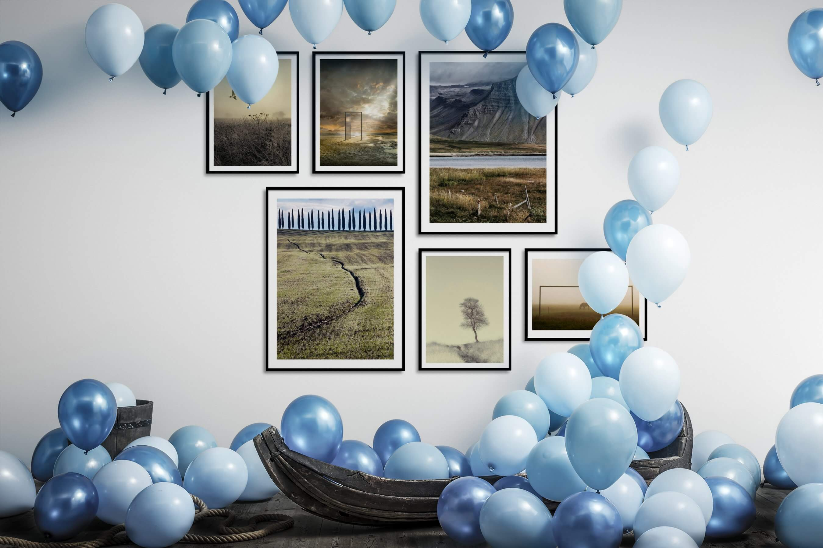 Gallery wall idea with six framed pictures arranged on a wall depicting For the Moderate, Country Life, Mindfulness, Artsy, For the Minimalist, and Animals