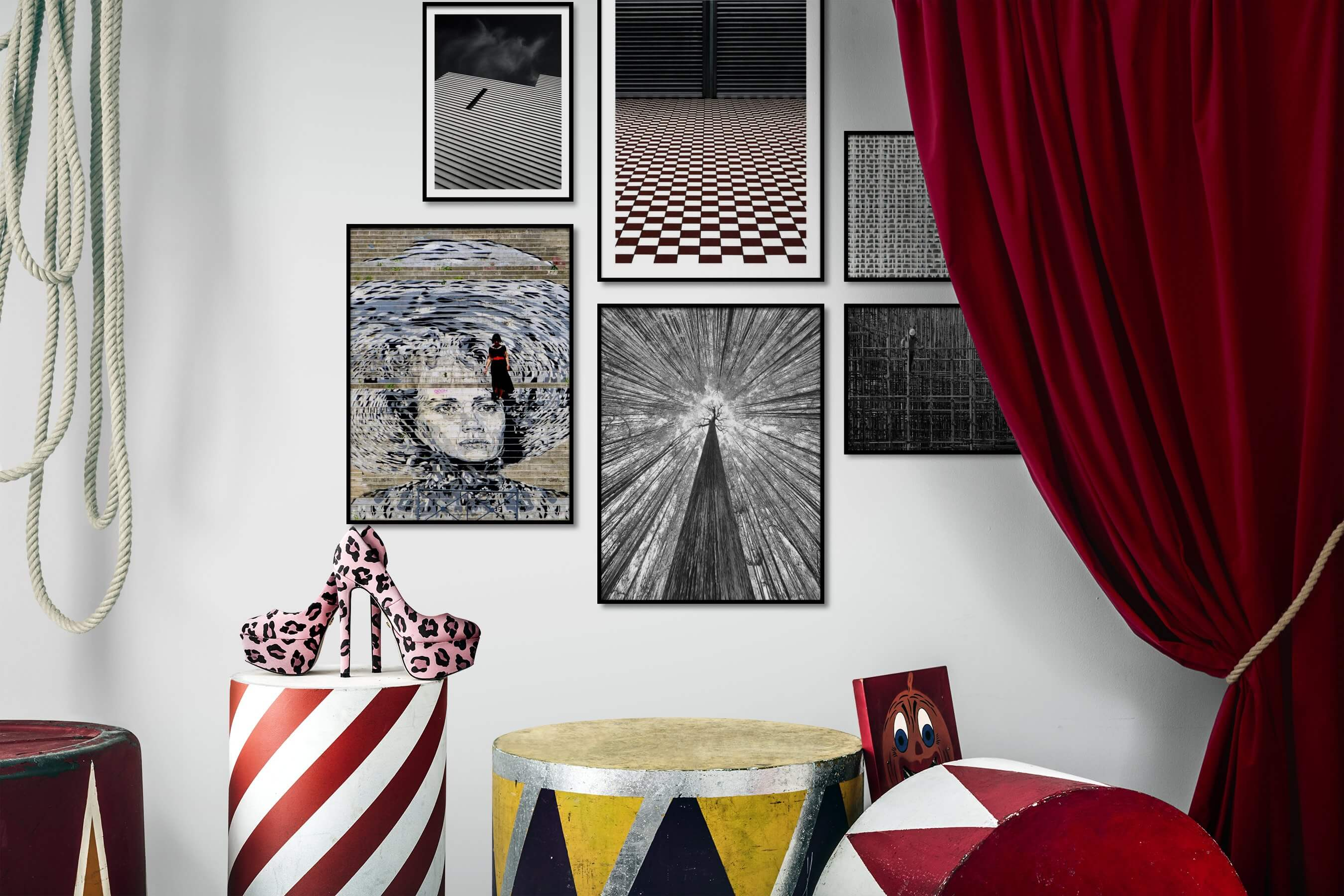 Gallery wall idea with six framed pictures arranged on a wall depicting Black & White, For the Moderate, For the Maximalist, City Life, and Nature