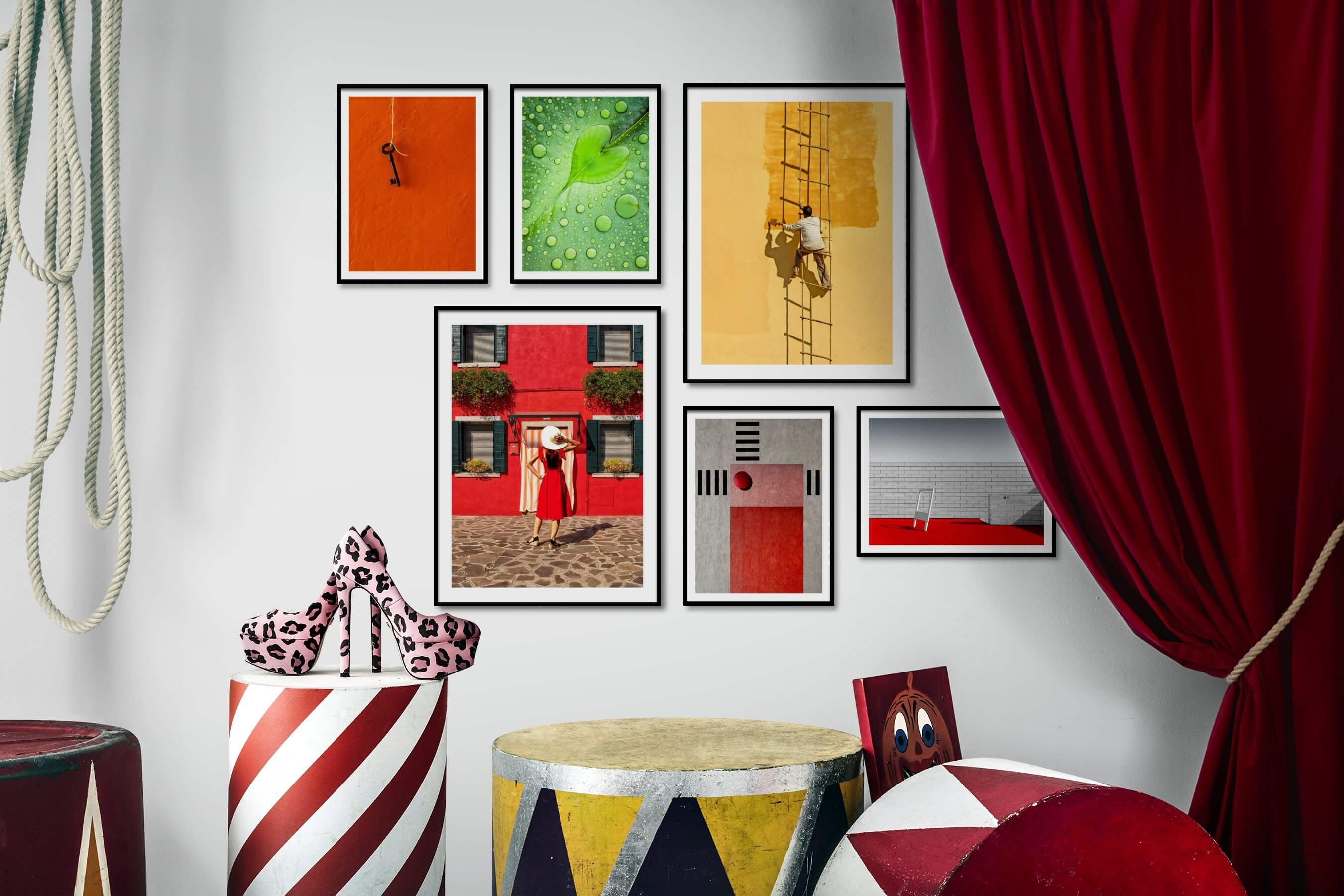 Gallery wall idea with six framed pictures arranged on a wall depicting For the Minimalist, For the Moderate, Flowers & Plants, Fashion & Beauty, and City Life