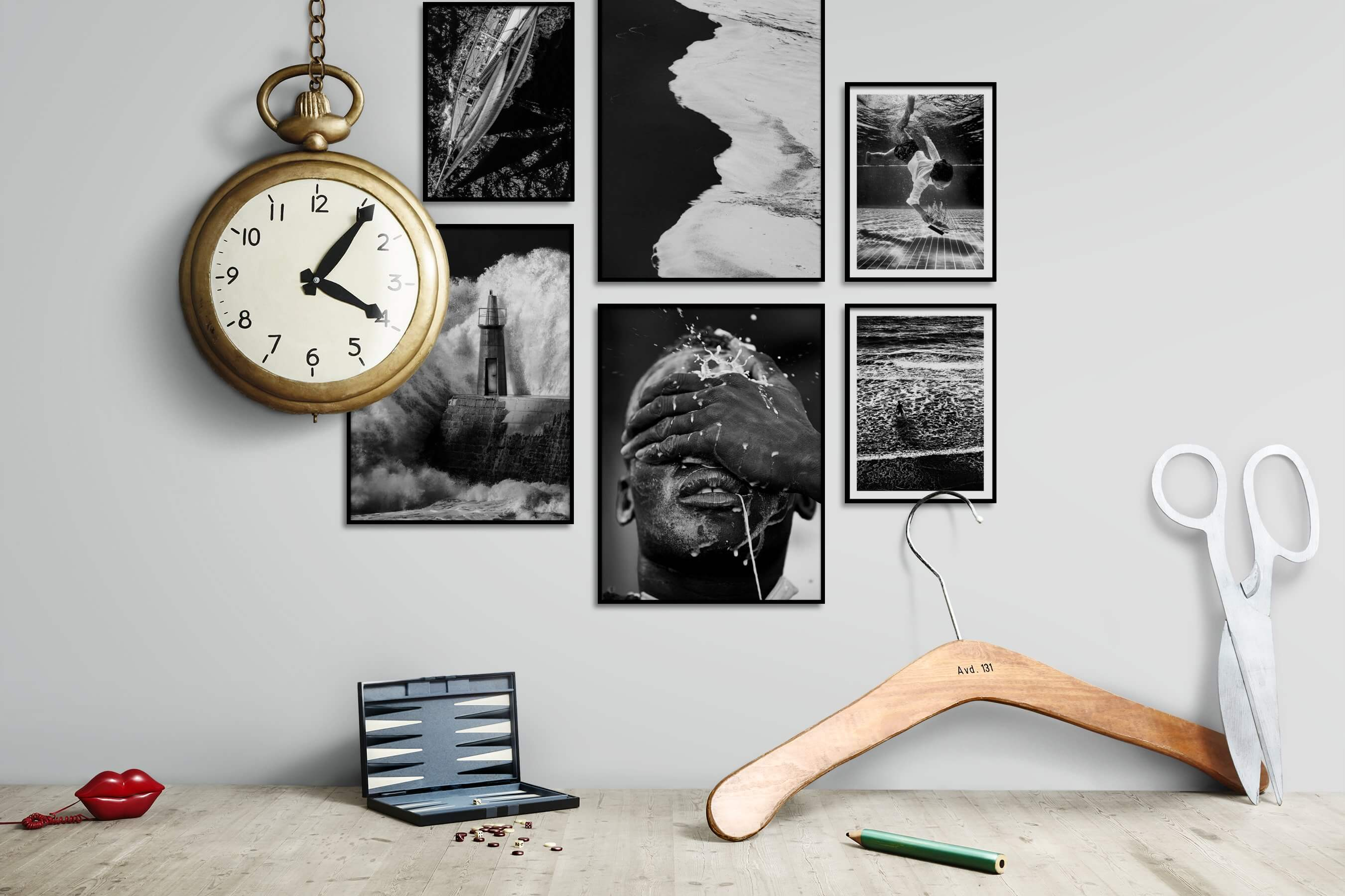 Gallery wall idea with six framed pictures arranged on a wall depicting Black & White, Dark Tones, Beach & Water, For the Minimalist, and Fashion & Beauty