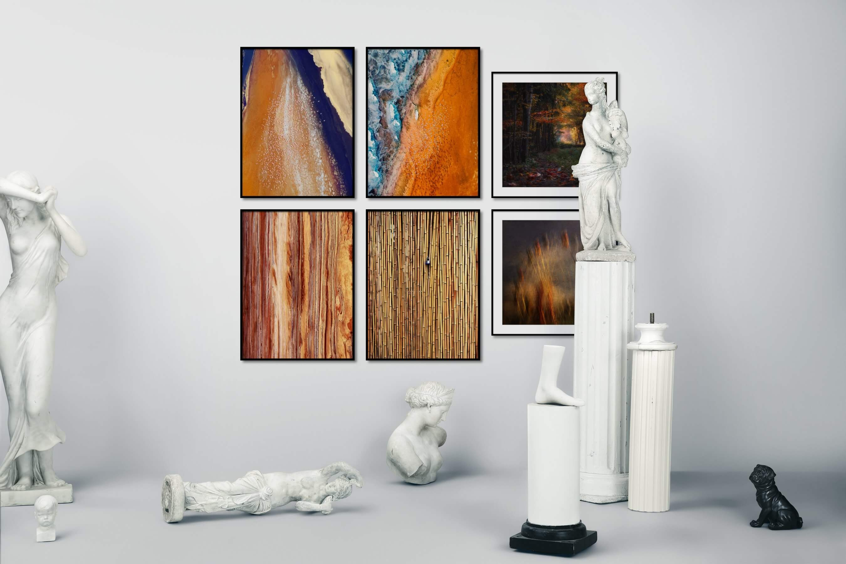 Gallery wall idea with six framed pictures arranged on a wall depicting For the Moderate, Nature, and For the Maximalist