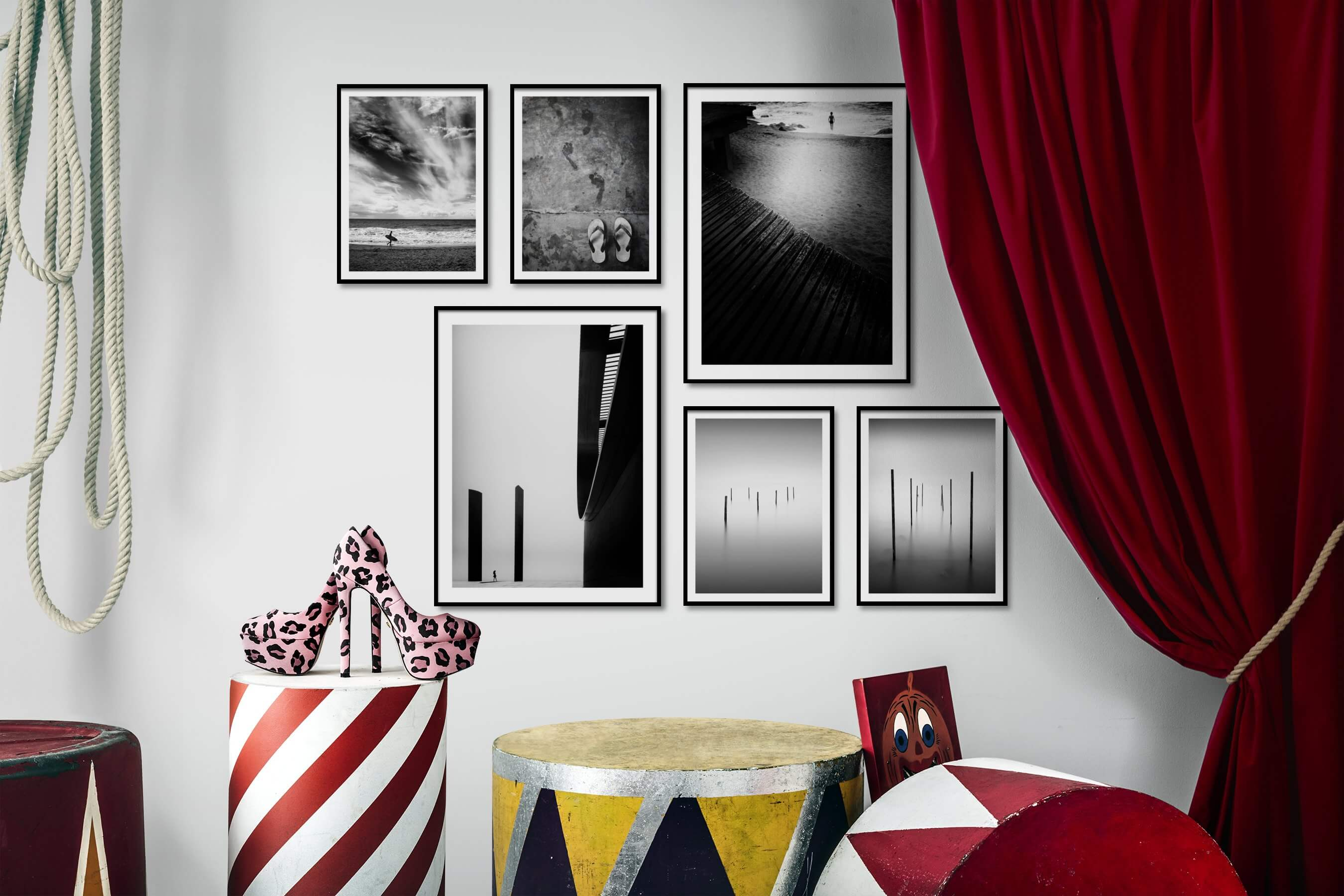 Gallery wall idea with six framed pictures arranged on a wall depicting Black & White, Beach & Water, For the Minimalist, and Mindfulness