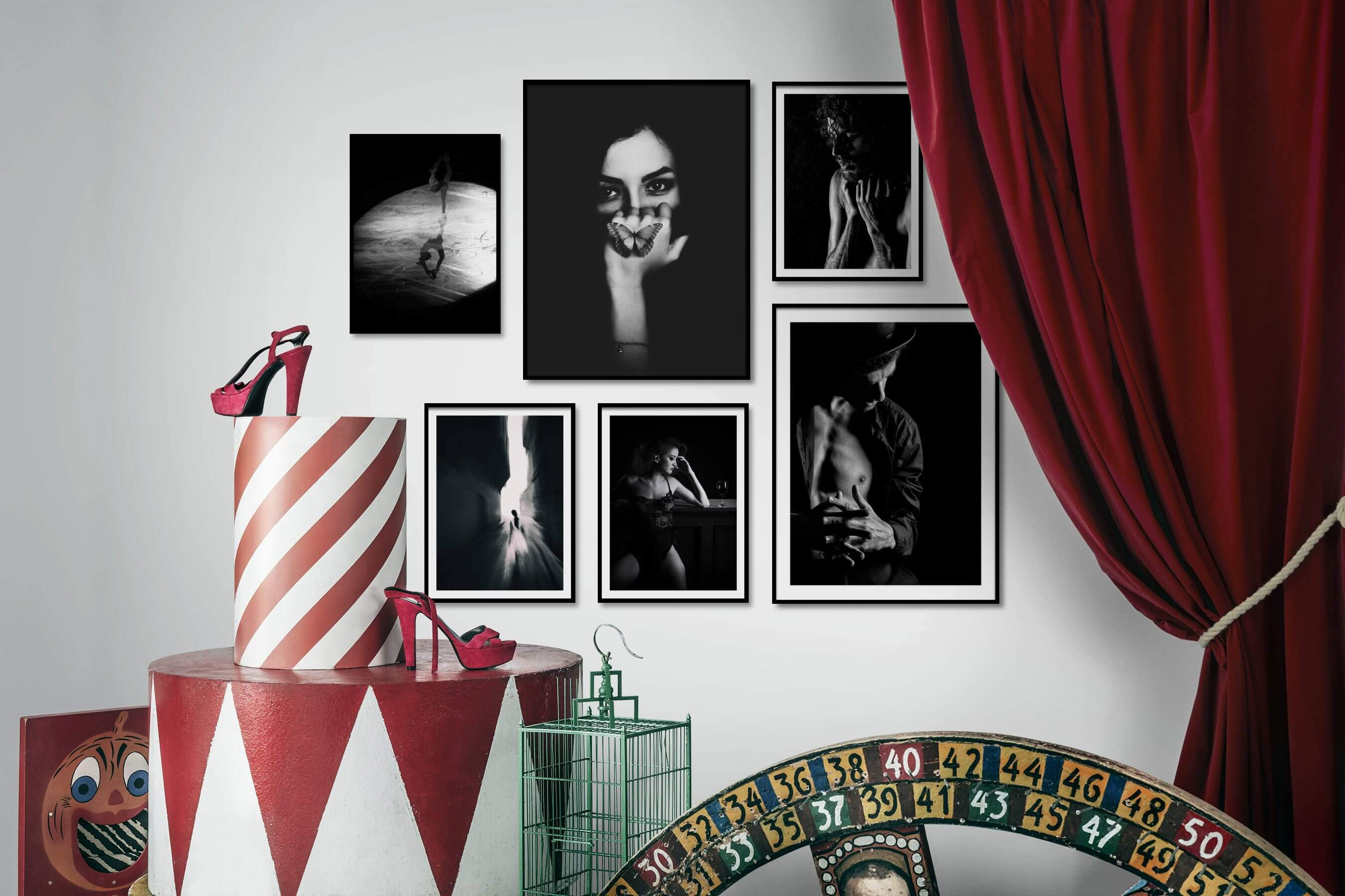 Gallery wall idea with six framed pictures arranged on a wall depicting Fashion & Beauty, Black & White, Dark Tones, For the Minimalist, Artsy, For the Moderate, and City Life