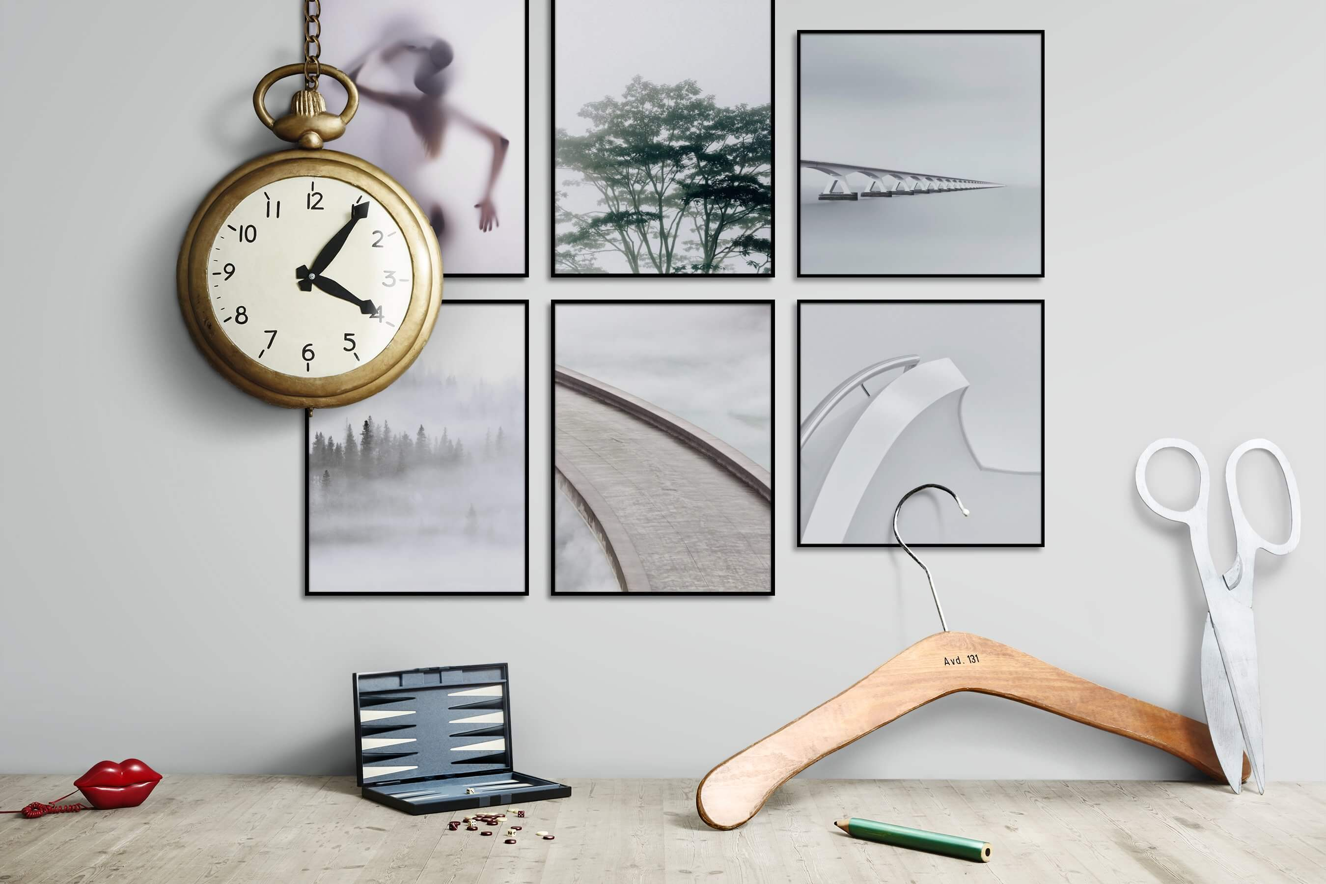 Gallery wall idea with six framed pictures arranged on a wall depicting Fashion & Beauty, For the Moderate, Nature, Mindfulness, Bright Tones, and For the Minimalist