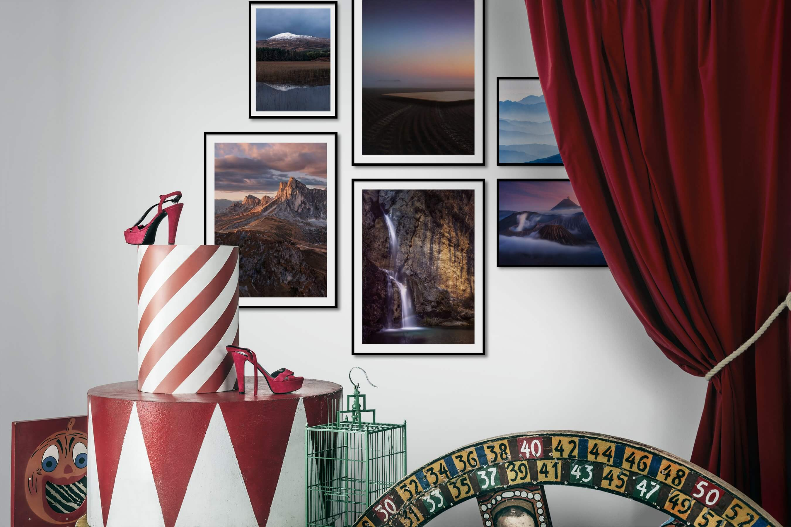 Gallery wall idea with six framed pictures arranged on a wall depicting Nature, Artsy, For the Minimalist, For the Moderate, and Mindfulness