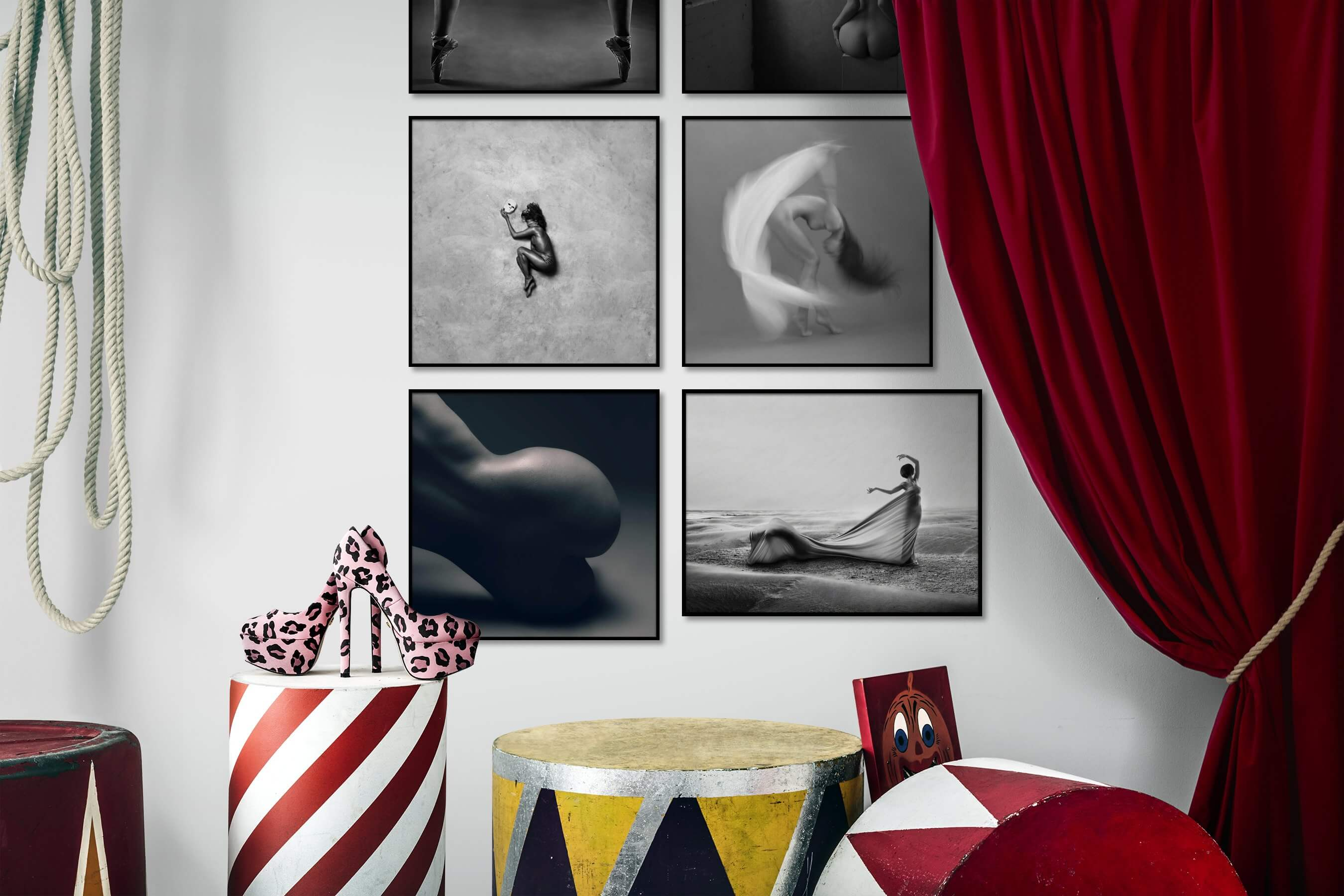 Gallery wall idea with six framed pictures arranged on a wall depicting Fashion & Beauty, Black & White, Artsy, For the Minimalist, Bold, and Beach & Water