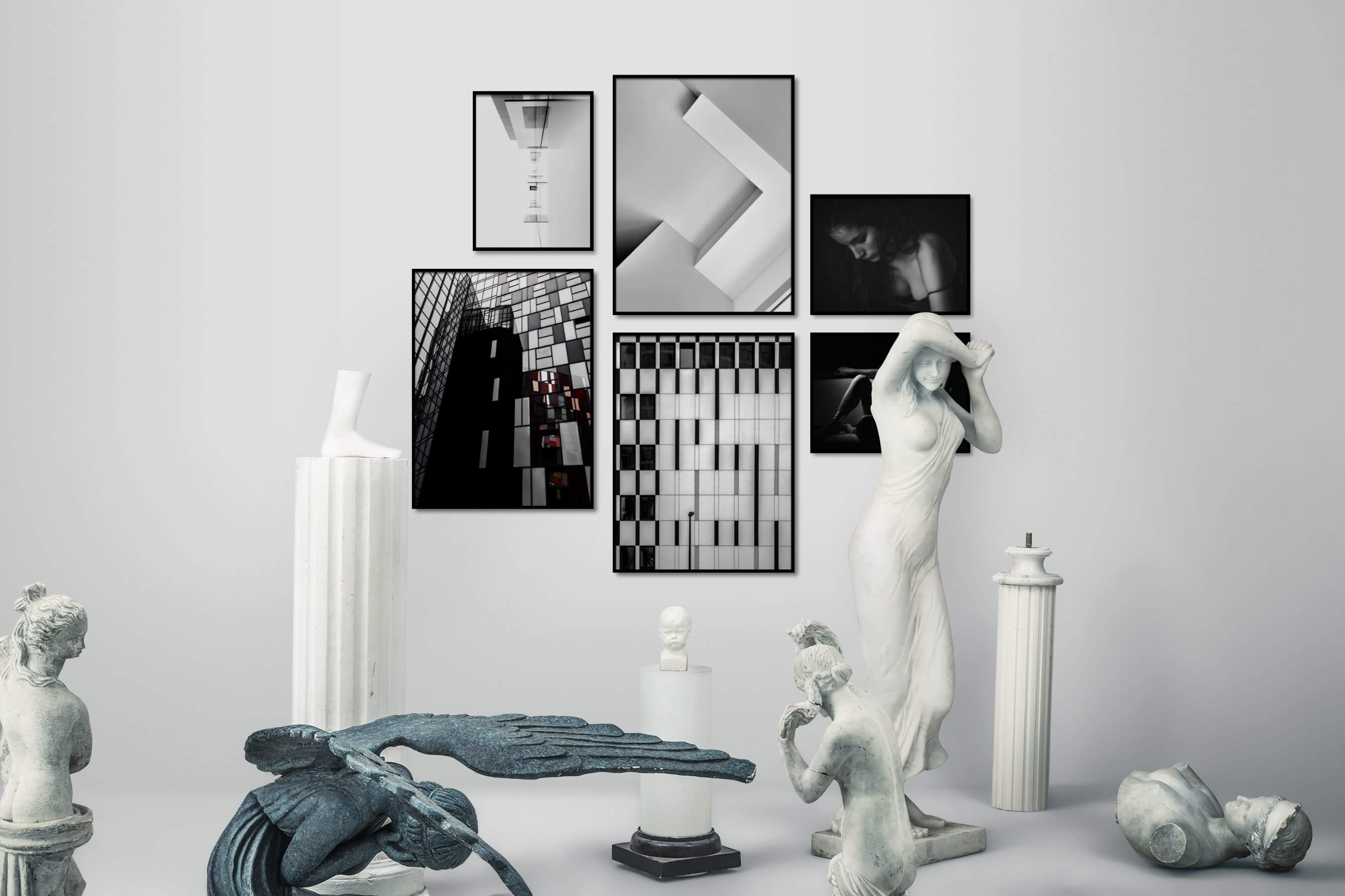 Gallery wall idea with six framed pictures arranged on a wall depicting For the Moderate, Black & White, For the Maximalist, City Life, Fashion & Beauty, and Dark Tones