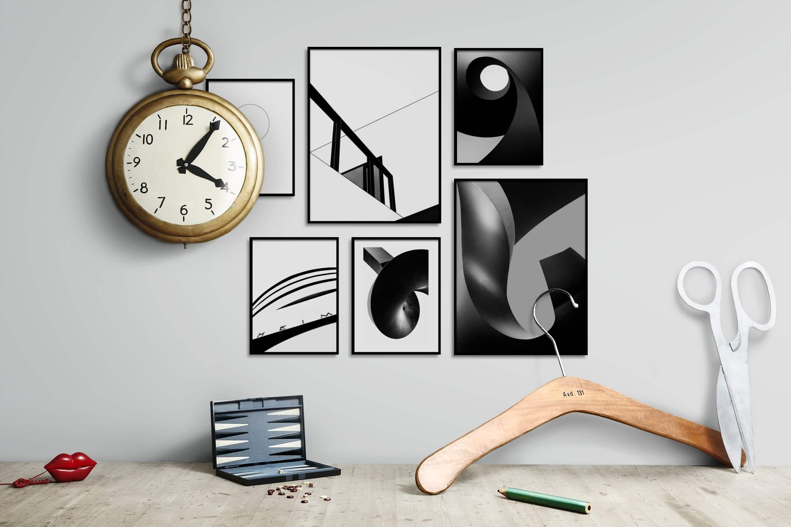 Gallery wall idea with six framed pictures arranged on a wall depicting Black & White, Bright Tones, For the Minimalist, City Life, Americana, and For the Moderate