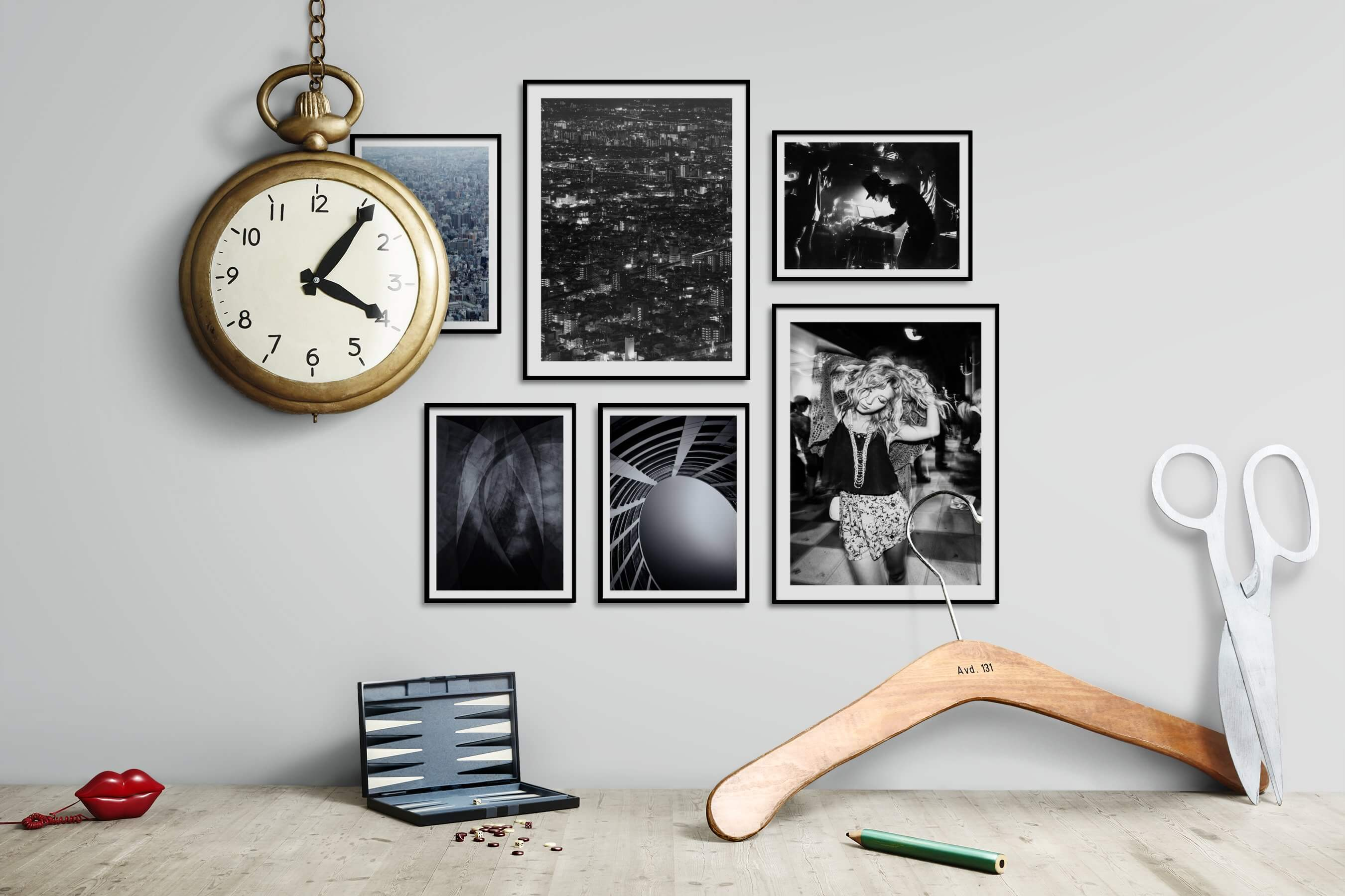 Gallery wall idea with six framed pictures arranged on a wall depicting For the Maximalist, City Life, Black & White, For the Moderate, and Fashion & Beauty