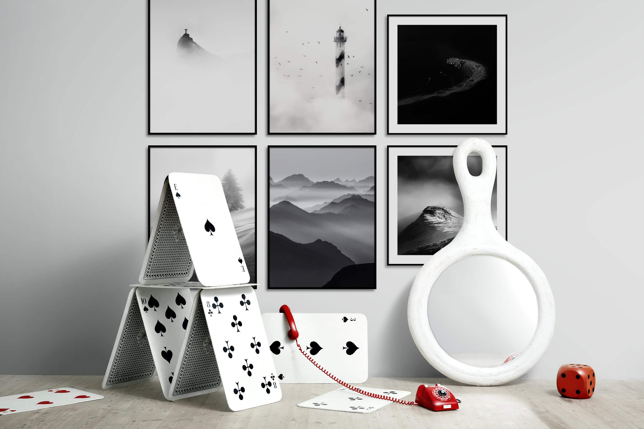 Gallery wall idea with six framed pictures arranged on a wall depicting Black & White, Bright Tones, For the Minimalist, Mindfulness, Beach & Water, Nature, Animals, and For the Moderate