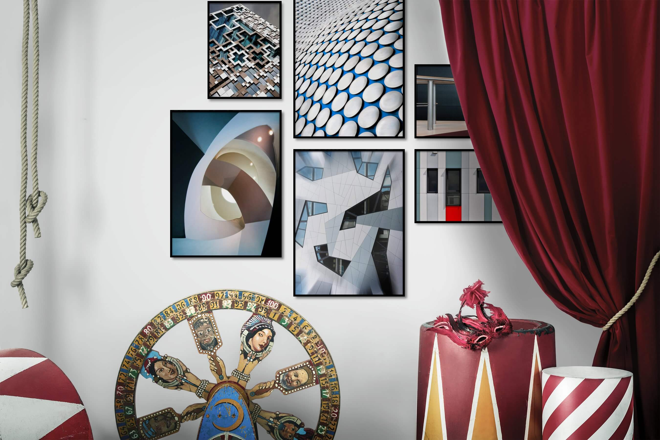 Gallery wall idea with six framed pictures arranged on a wall depicting For the Maximalist and For the Moderate