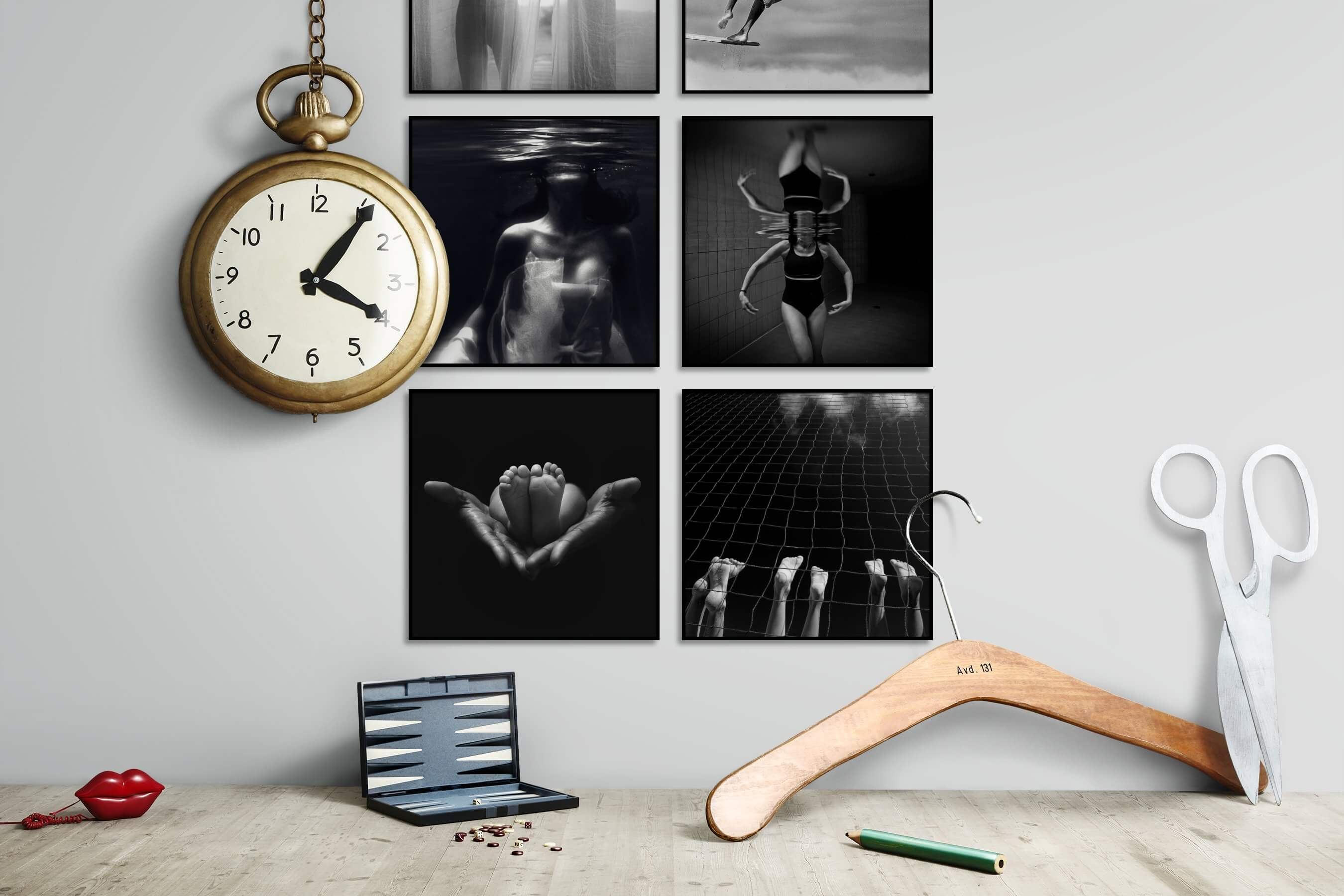 Gallery wall idea with six framed pictures arranged on a wall depicting Fashion & Beauty, Black & White, Dark Tones, Beach & Water, For the Minimalist, Mindfulness, and For the Moderate