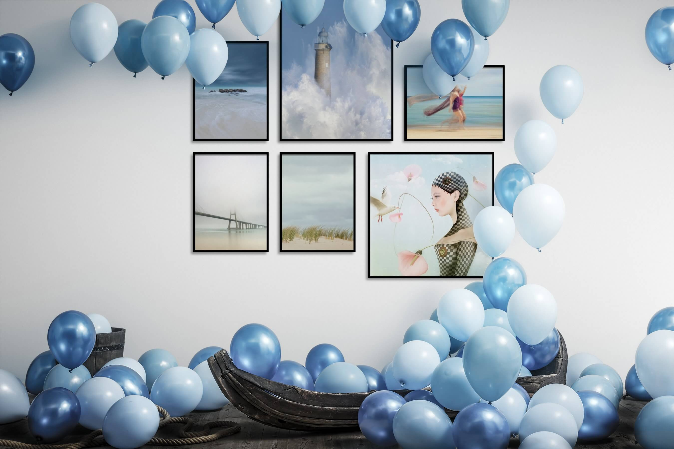 Gallery wall idea with six framed pictures arranged on a wall depicting For the Minimalist, Beach & Water, Mindfulness, For the Moderate, Artsy, and Fashion & Beauty
