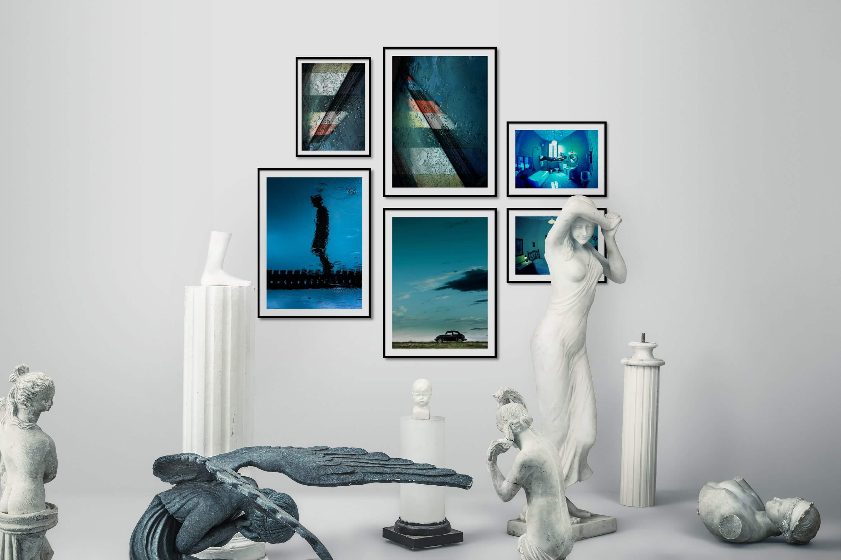 Gallery wall idea with six framed pictures arranged on a wall depicting For the Moderate, City Life, For the Minimalist, Beach & Water, Country Life, Vintage, and Artsy