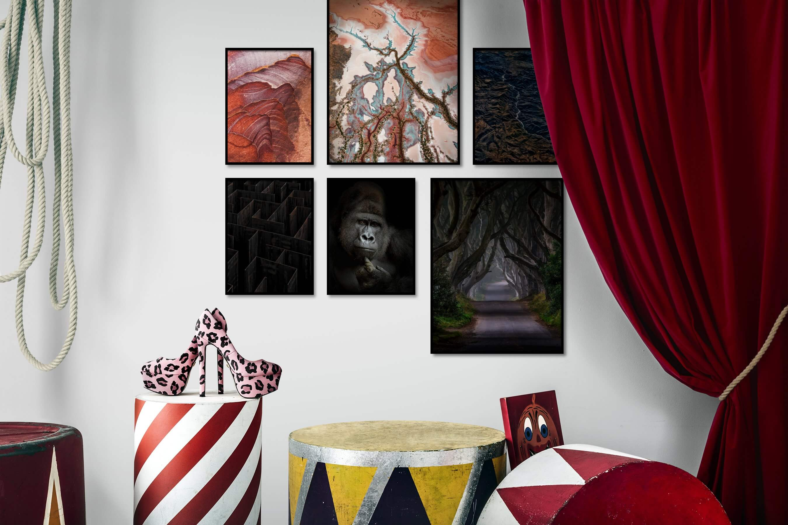 Gallery wall idea with six framed pictures arranged on a wall depicting Colorful, For the Moderate, Nature, Dark Tones, For the Maximalist, Animals, and Country Life
