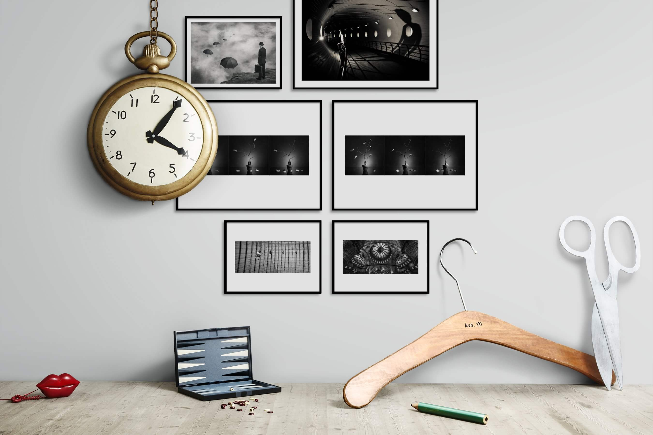 Gallery wall idea with six framed pictures arranged on a wall depicting Artsy, Black & White, For the Minimalist, Flowers & Plants, and For the Moderate