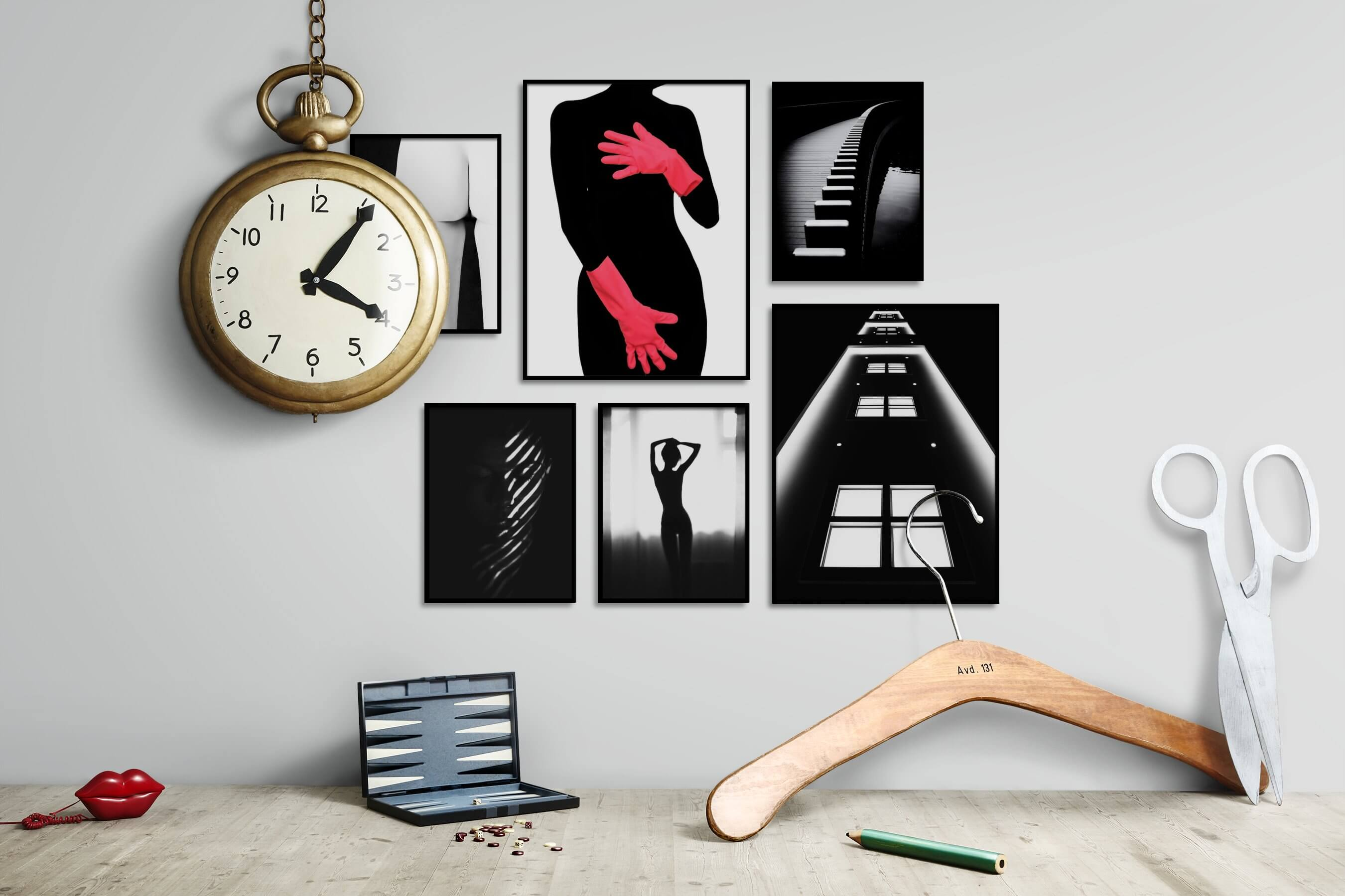 Gallery wall idea with six framed pictures arranged on a wall depicting Fashion & Beauty, Black & White, For the Minimalist, Artsy, Dark Tones, For the Moderate, and City Life