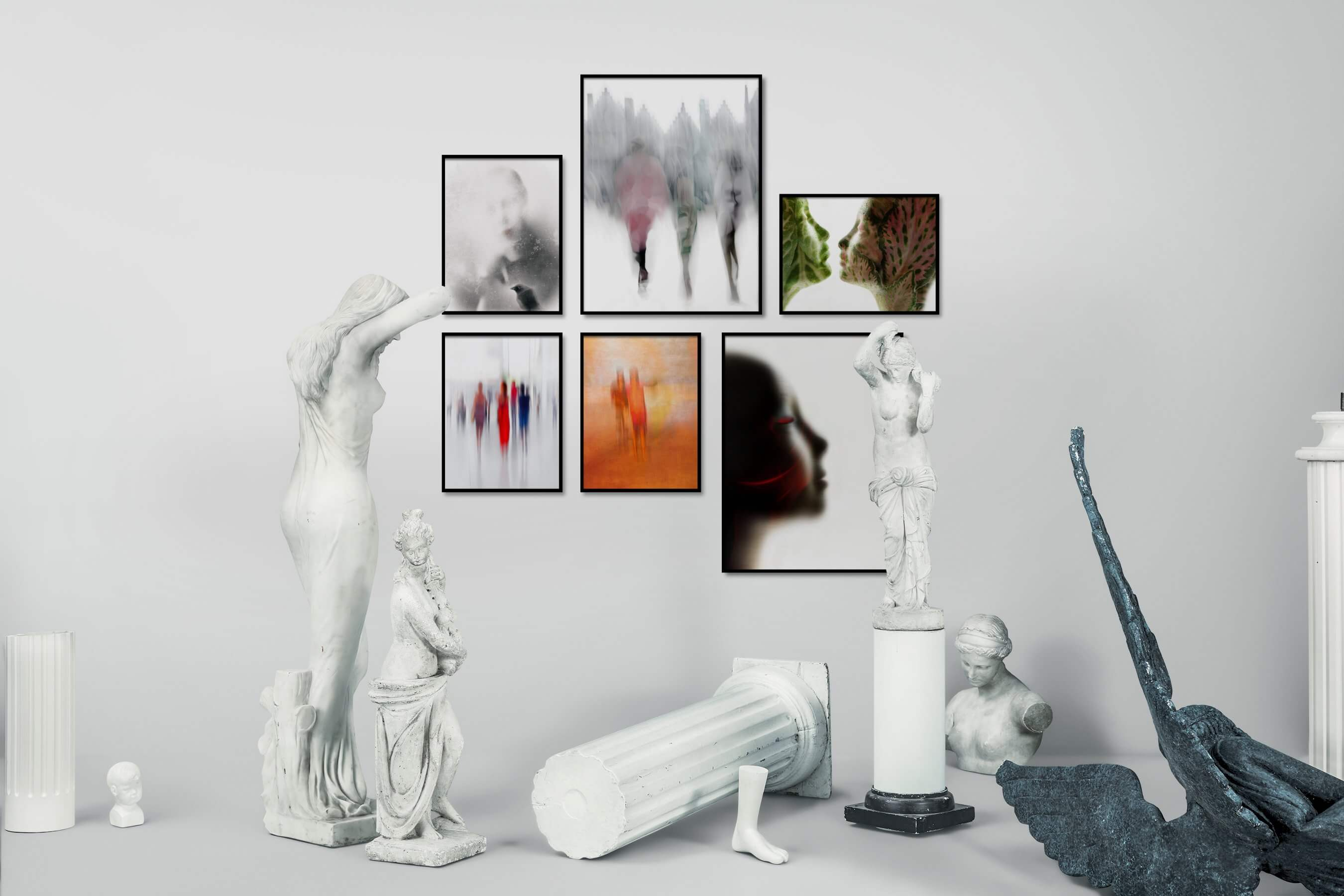 Gallery wall idea with six framed pictures arranged on a wall depicting Artsy, For the Moderate, City Life, Fashion & Beauty, Bright Tones, and For the Minimalist