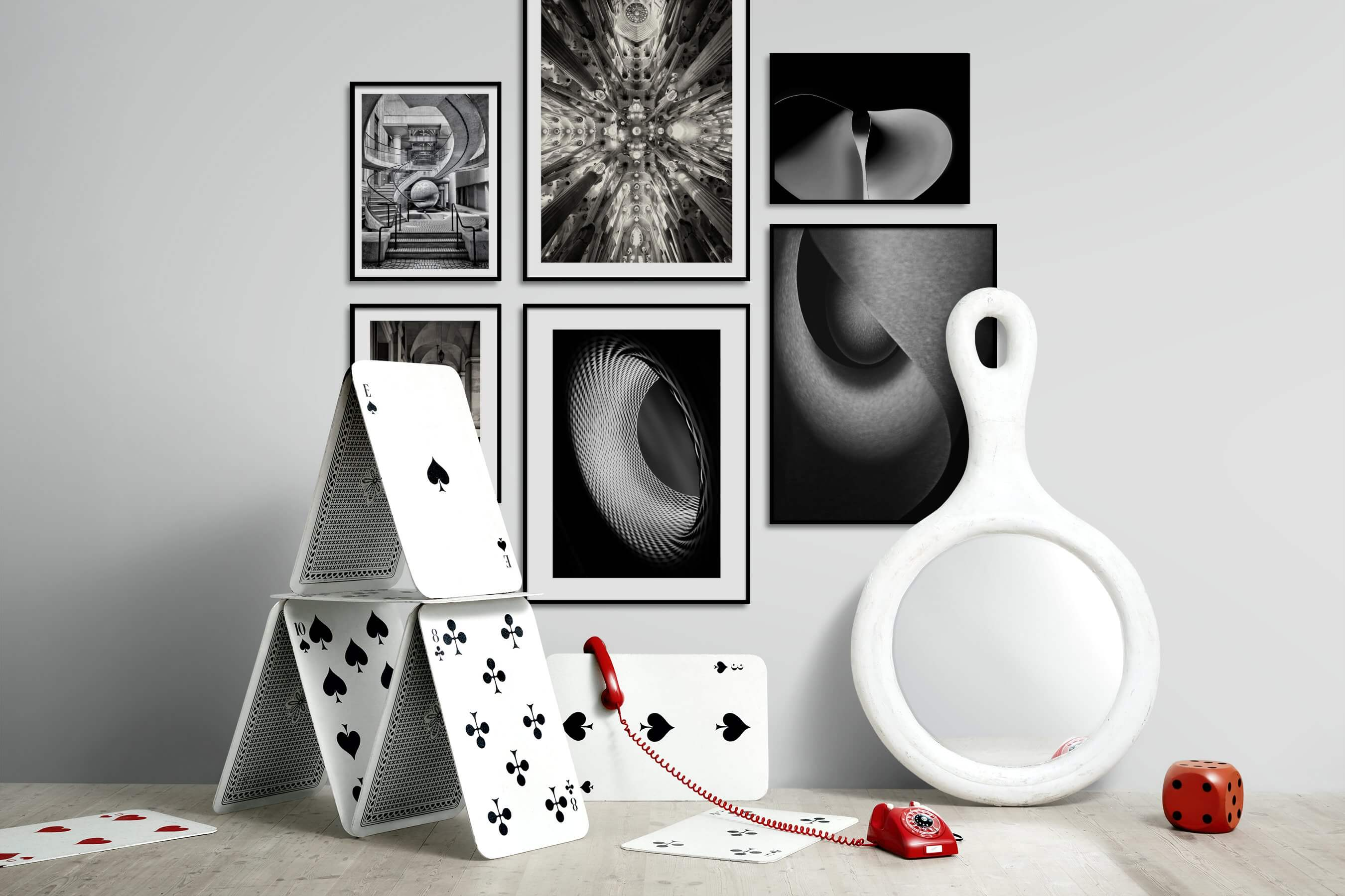 Gallery wall idea with six framed pictures arranged on a wall depicting Black & White, For the Maximalist, For the Moderate, Dark Tones, and For the Minimalist