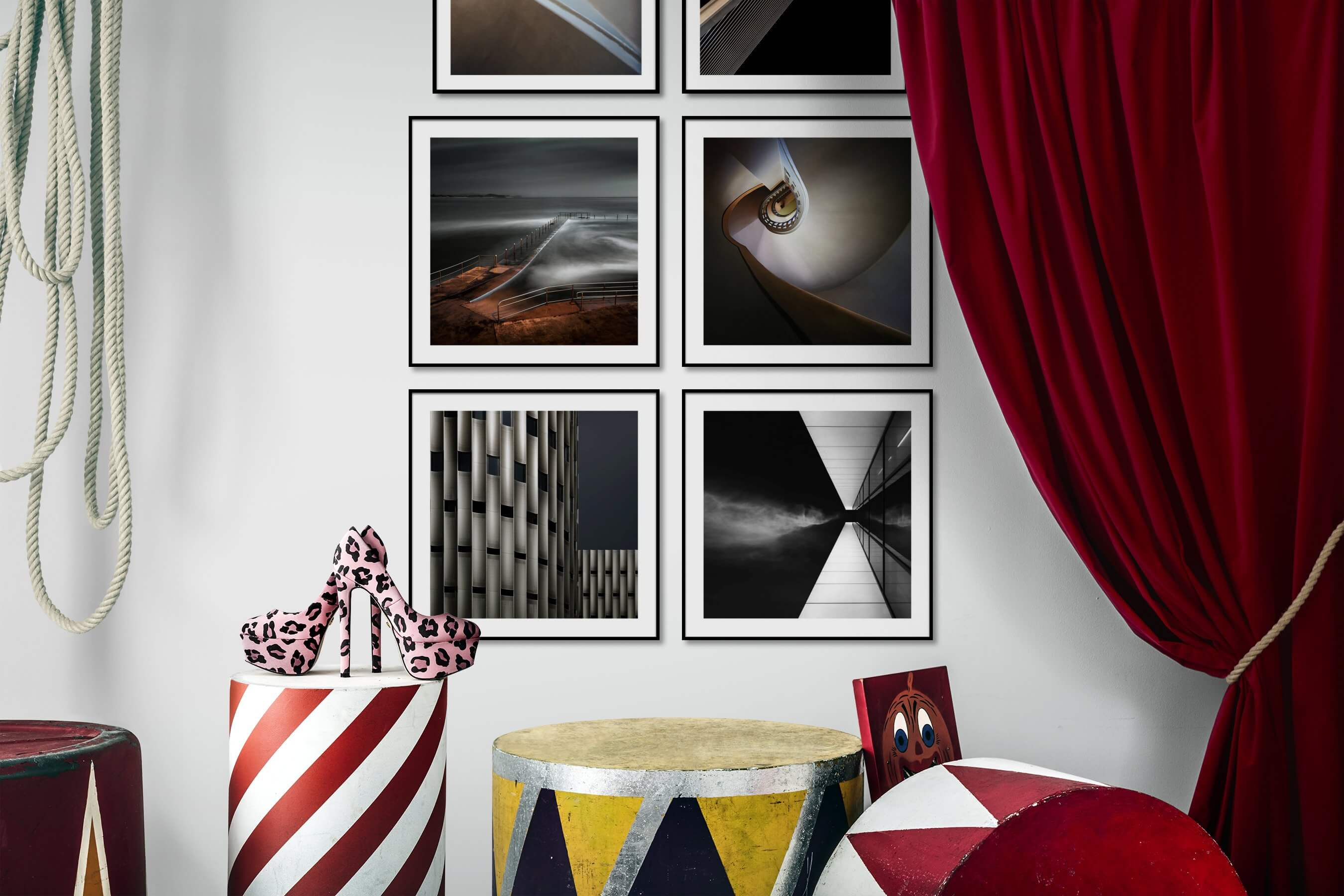 Gallery wall idea with six framed pictures arranged on a wall depicting For the Moderate, For the Minimalist, Beach & Water, and Black & White