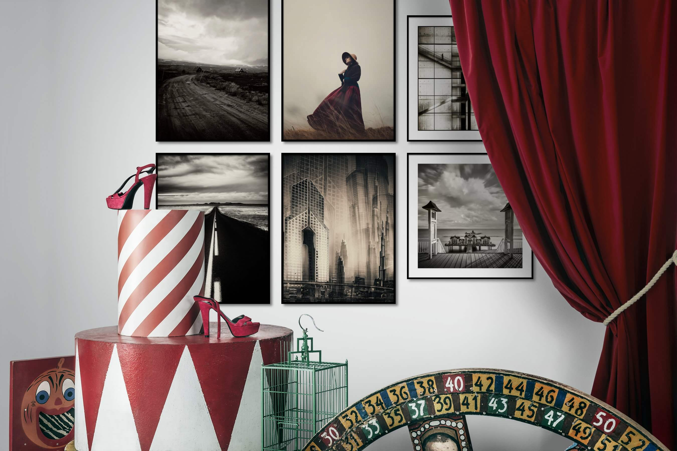 Gallery wall idea with six framed pictures arranged on a wall depicting Black & White, Country Life, Fashion & Beauty, For the Minimalist, Vintage, Mindfulness, For the Maximalist, City Life, and Beach & Water