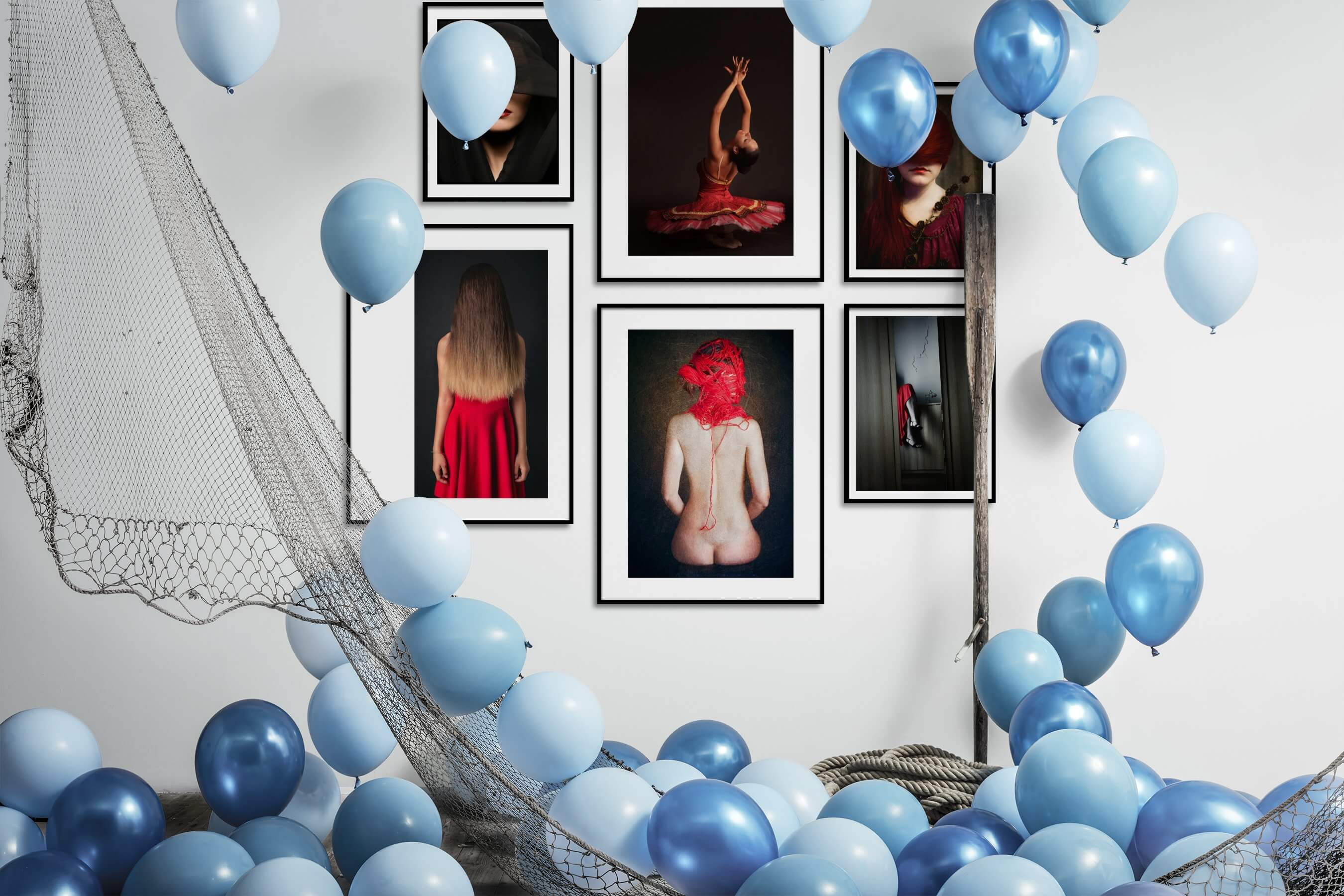 Gallery wall idea with six framed pictures arranged on a wall depicting Fashion & Beauty and Artsy