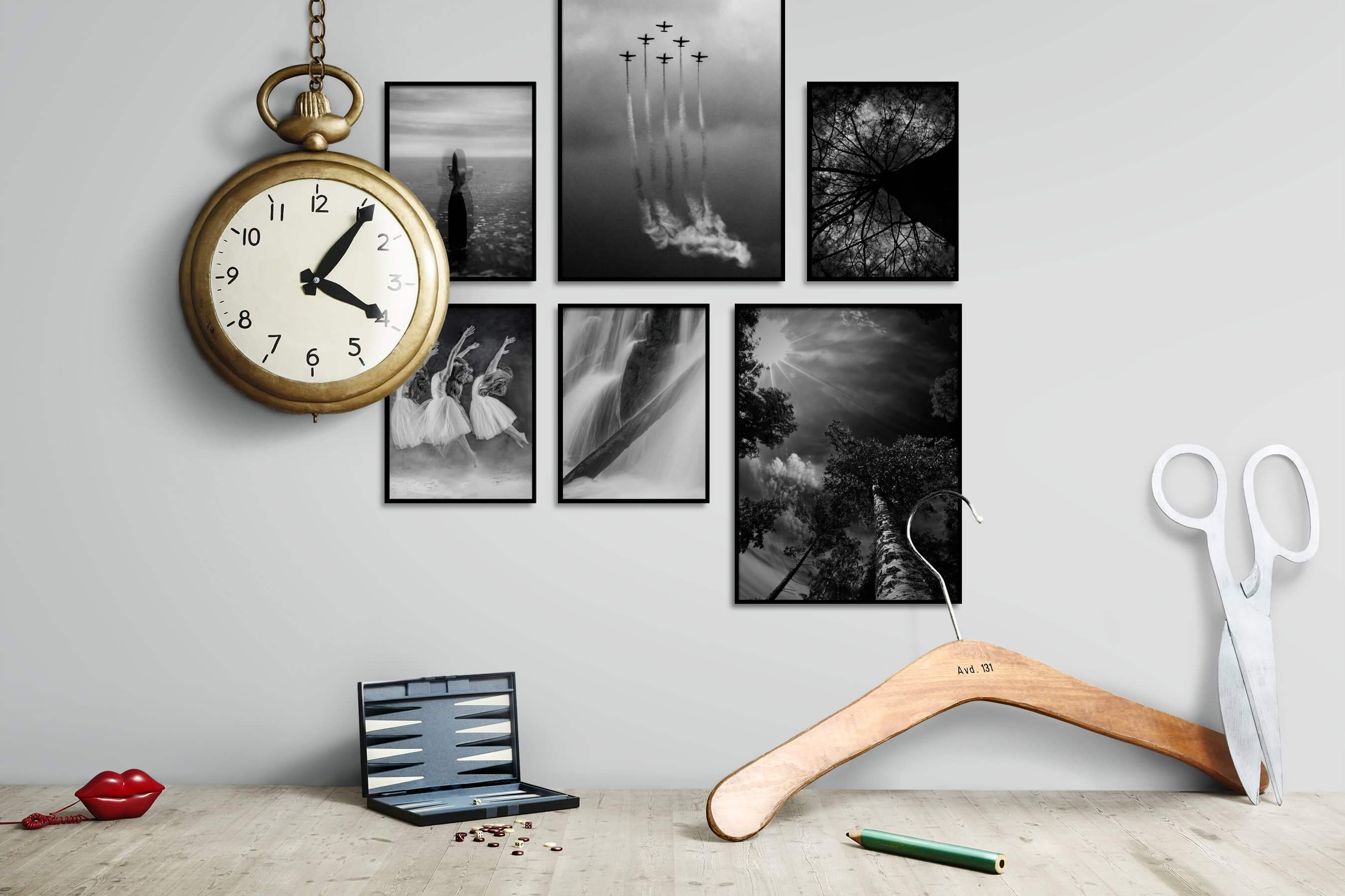Gallery wall idea with six framed pictures arranged on a wall depicting Artsy, Black & White, For the Minimalist, Fashion & Beauty, Nature, and For the Moderate