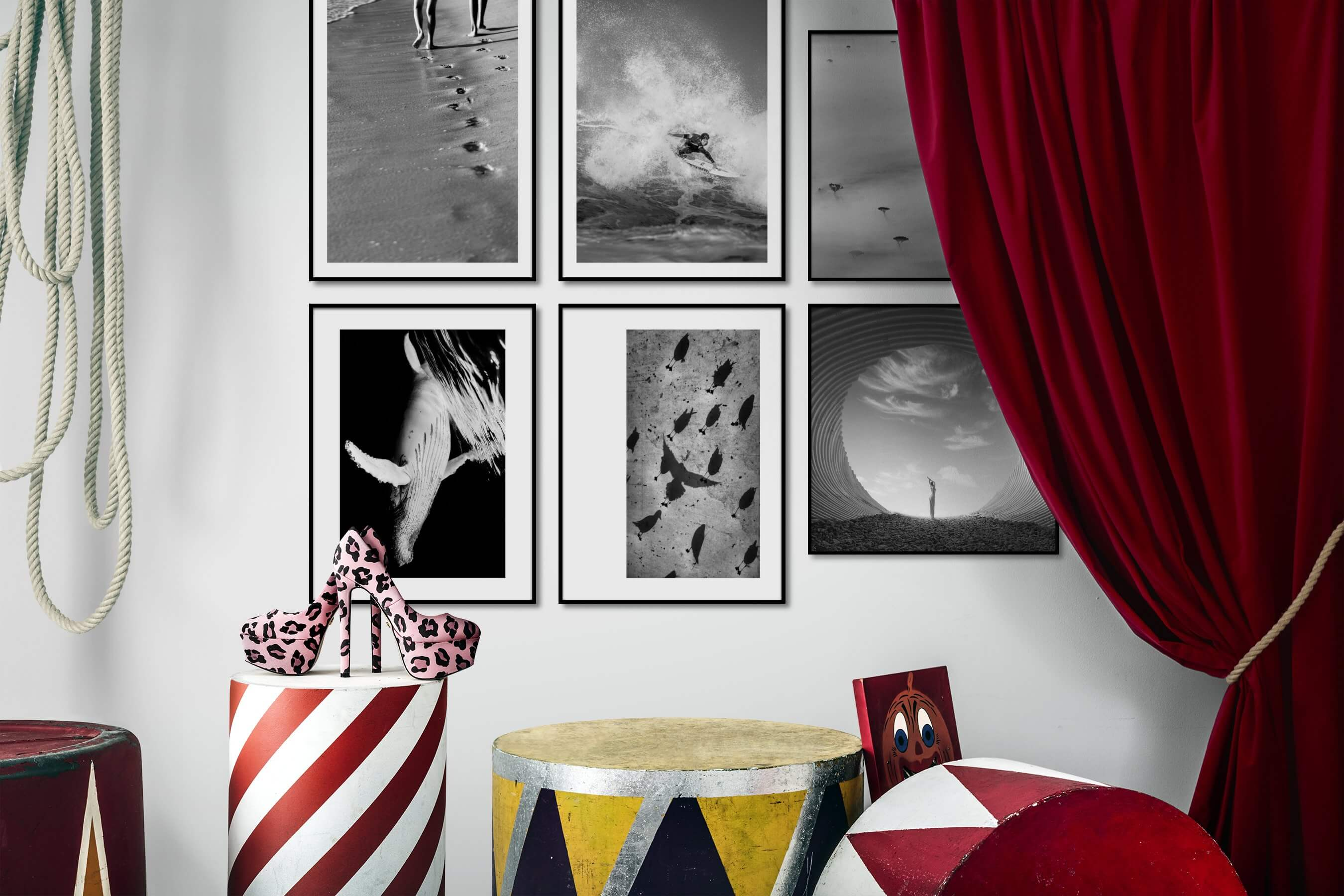 Gallery wall idea with six framed pictures arranged on a wall depicting Black & White, Beach & Water, Animals, For the Moderate, For the Minimalist, and Nature
